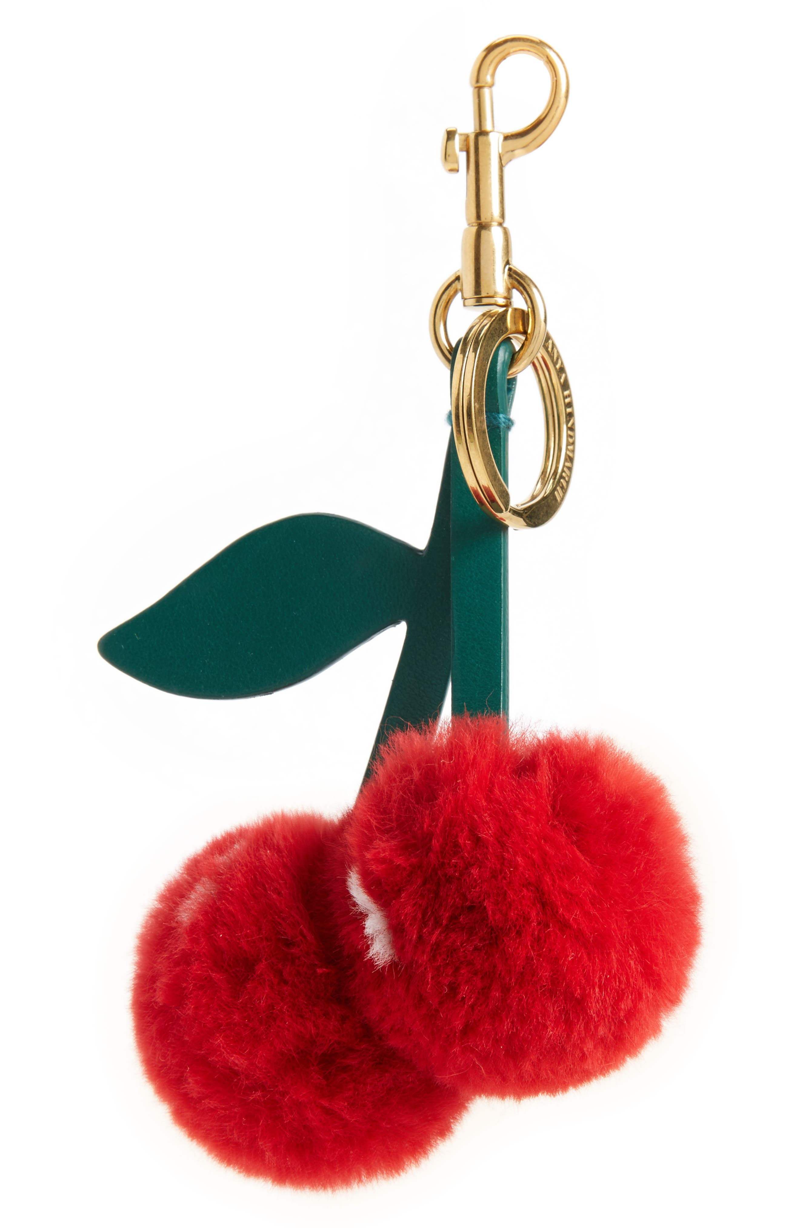 Cherry Genuine Rabbit Fur Bag Charm,                         Main,                         color, Bright Red