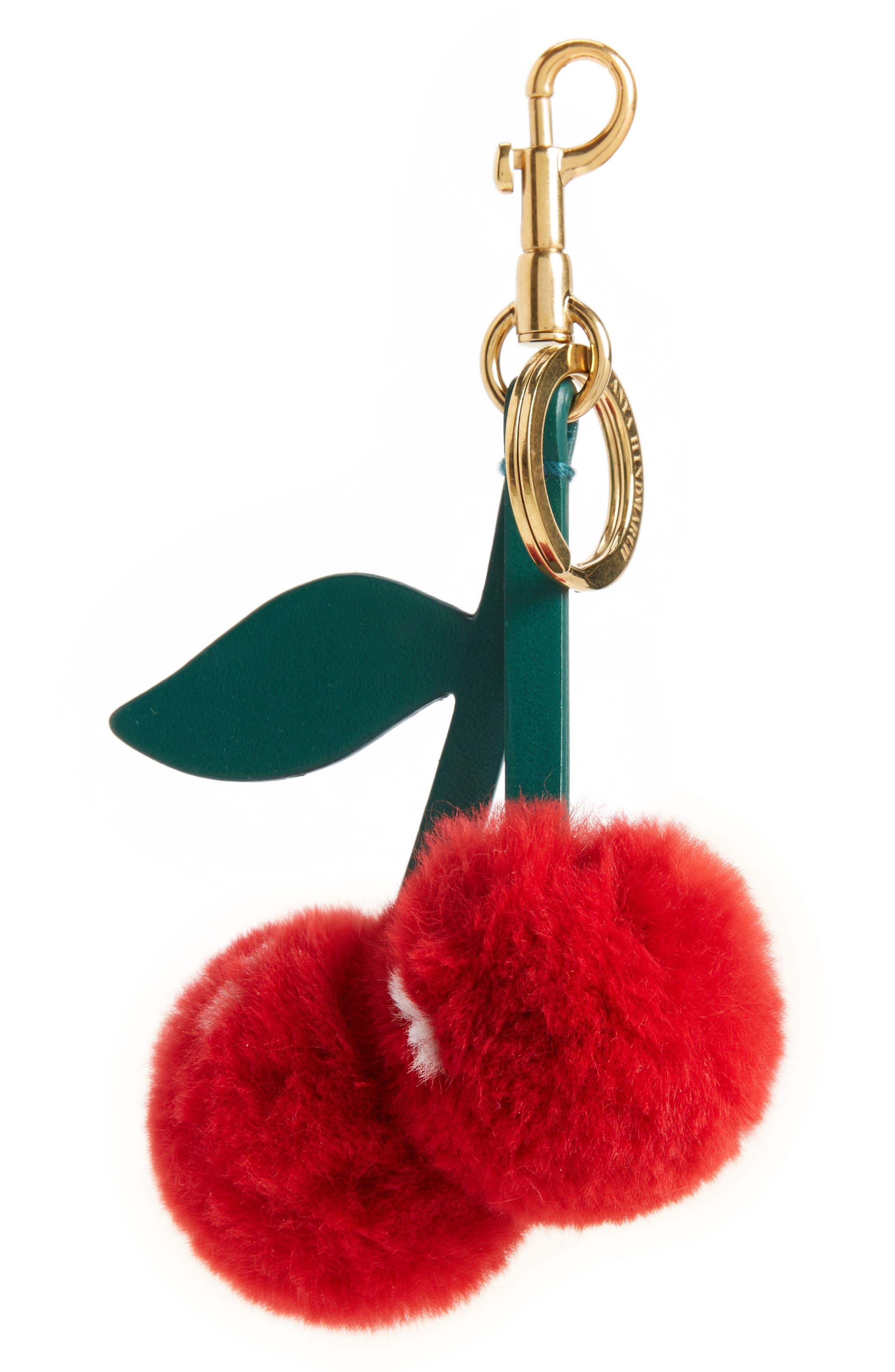 Anya Hindmarch Cherry Genuine Rabbit Fur Bag Charm