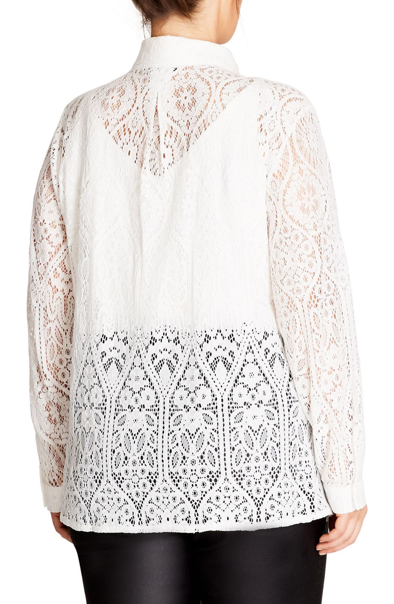Alternate Image 2  - City Chic Lace Shirt (Plus Size)
