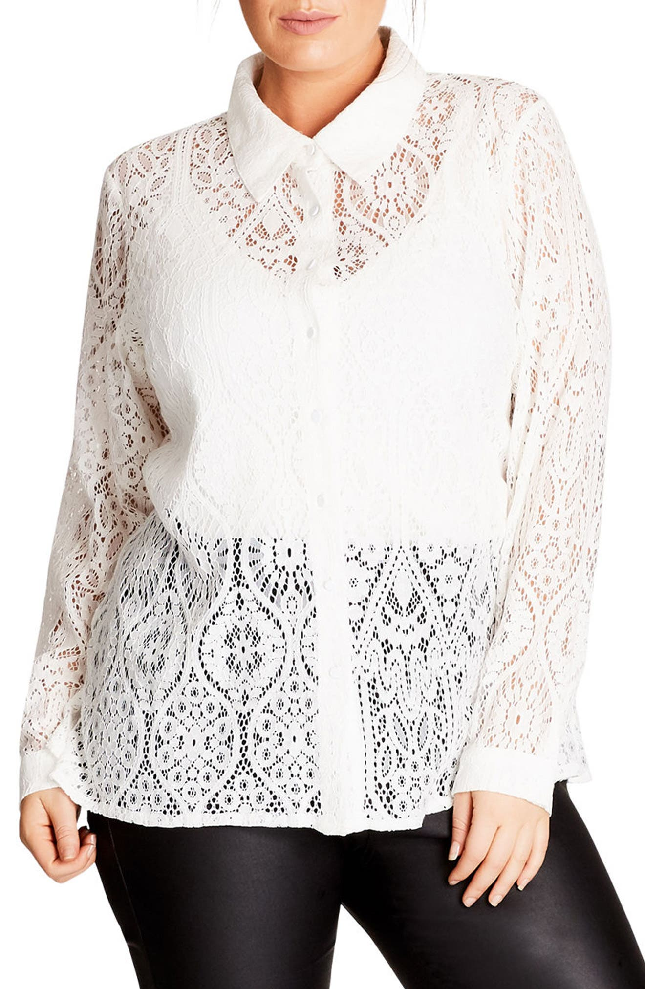 Lace Shirt,                         Main,                         color, Ivory