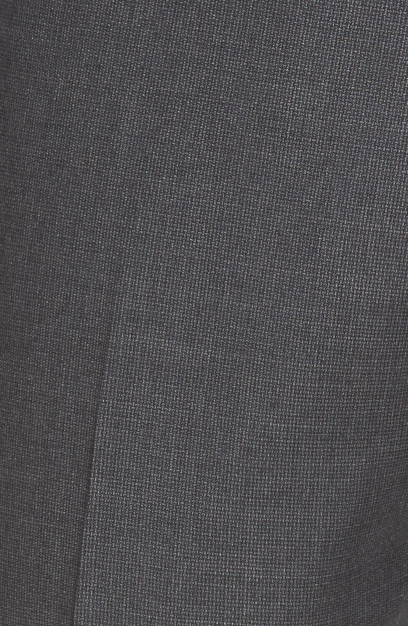 Flat Front Solid Wool Suit Trousers,                             Alternate thumbnail 5, color,                             Charcoal