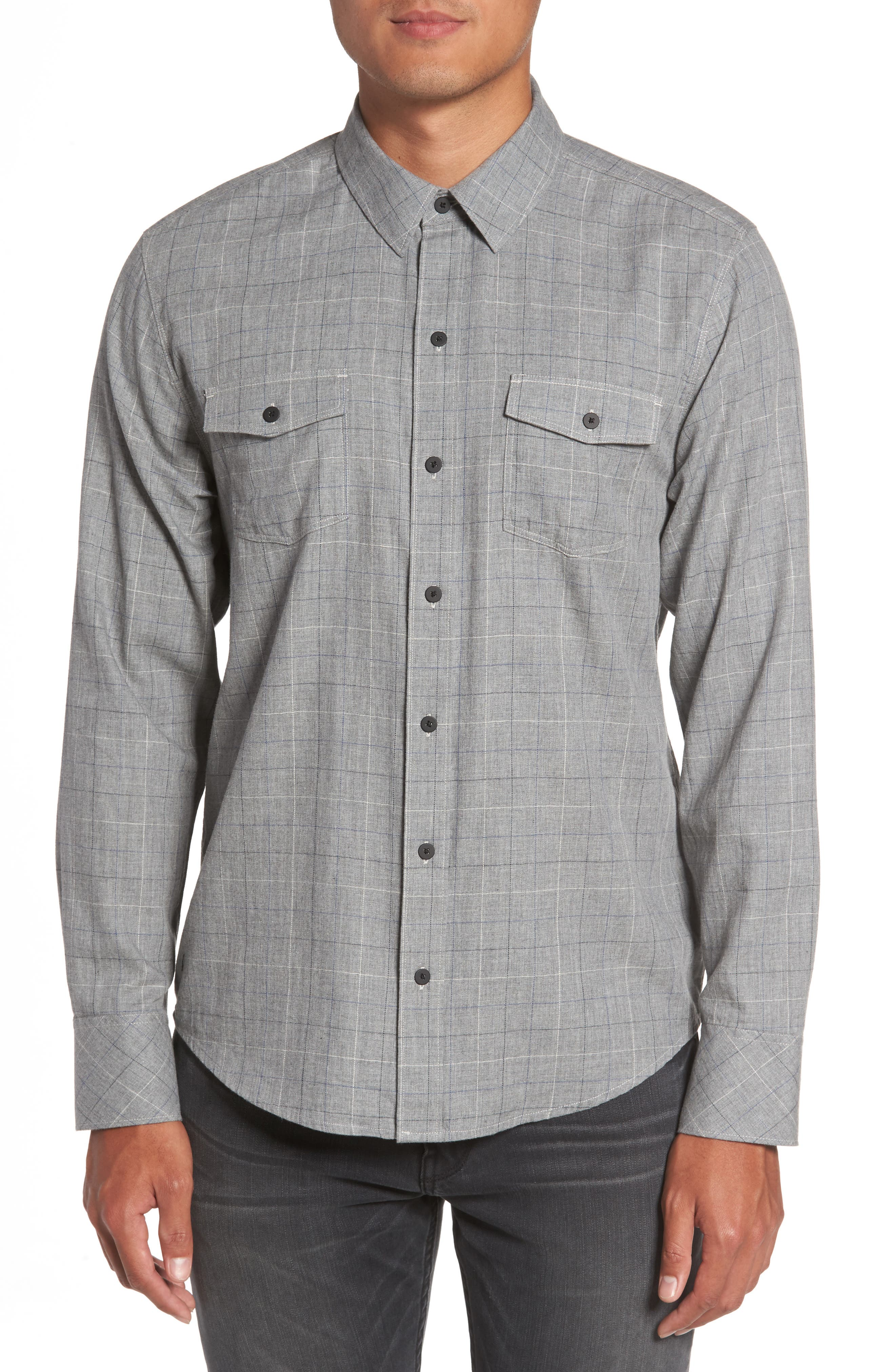 Everett Tattersall Sport Shirt,                         Main,                         color, Harbor Grey Nolan Plaid