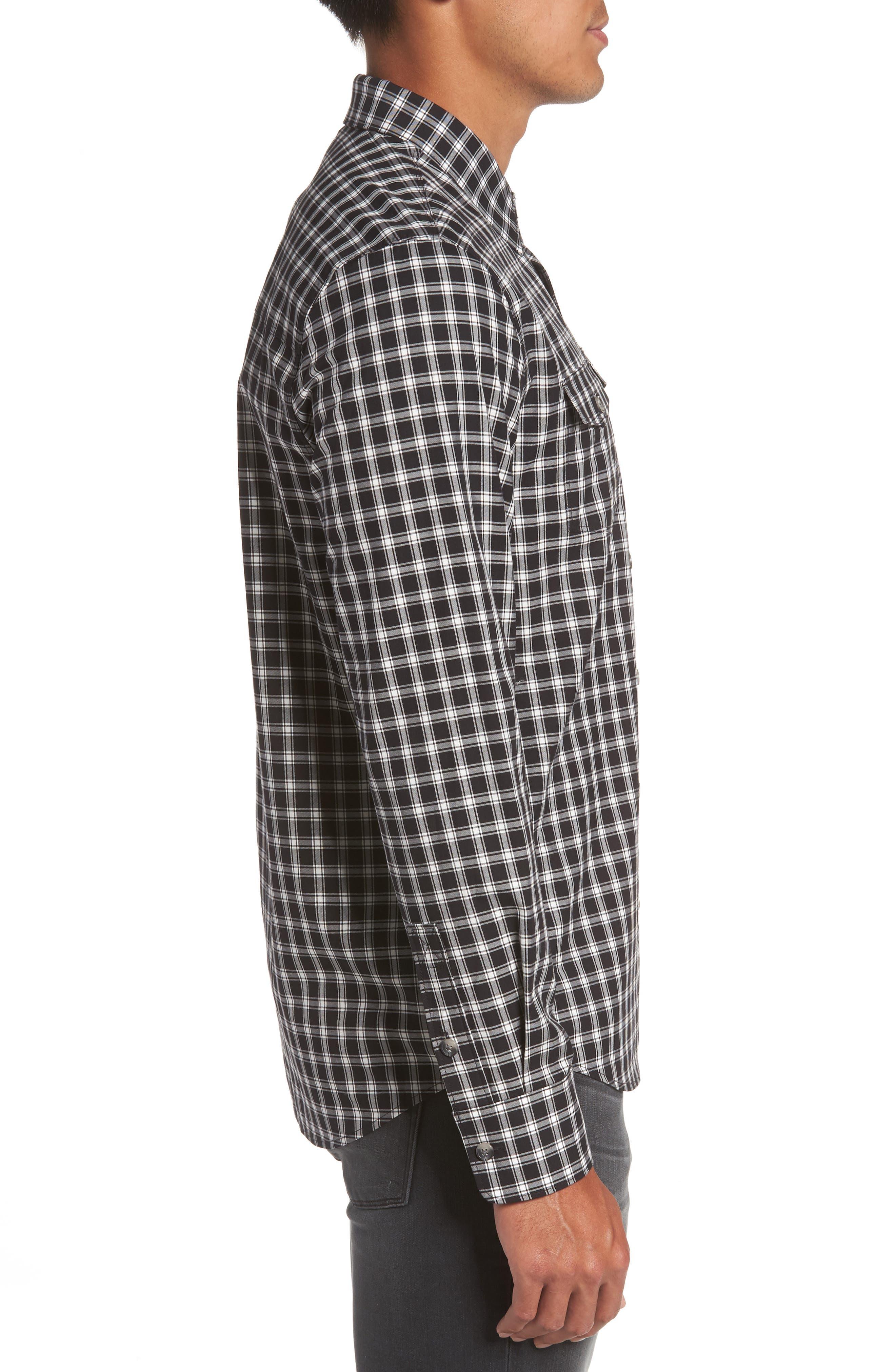Everett Check Sport Shirt,                             Alternate thumbnail 3, color,                             Black Slate