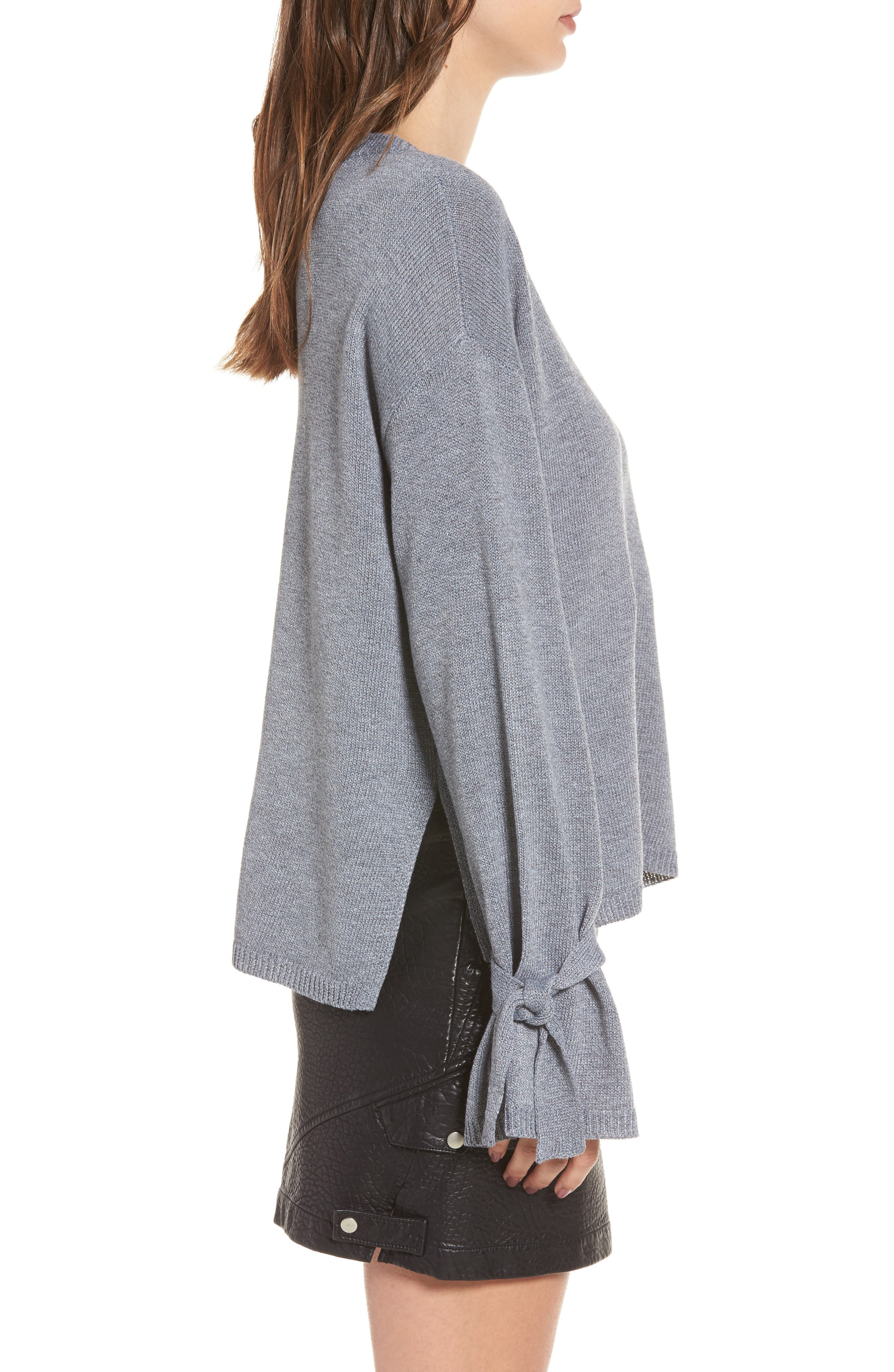 Tie Sleeve Sweater,                             Alternate thumbnail 3, color,                             Heather Grey