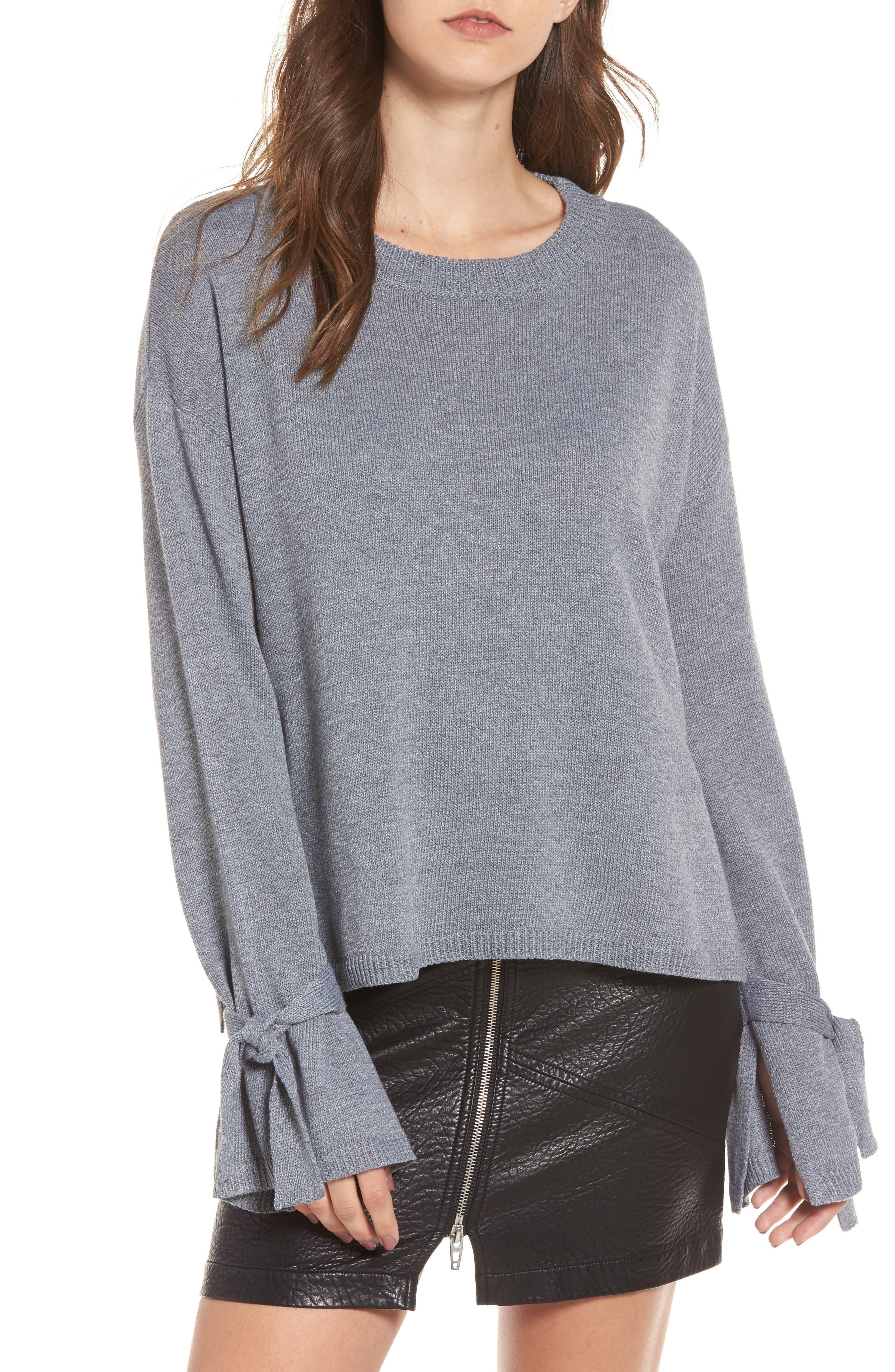 Tie Sleeve Sweater,                         Main,                         color, Heather Grey