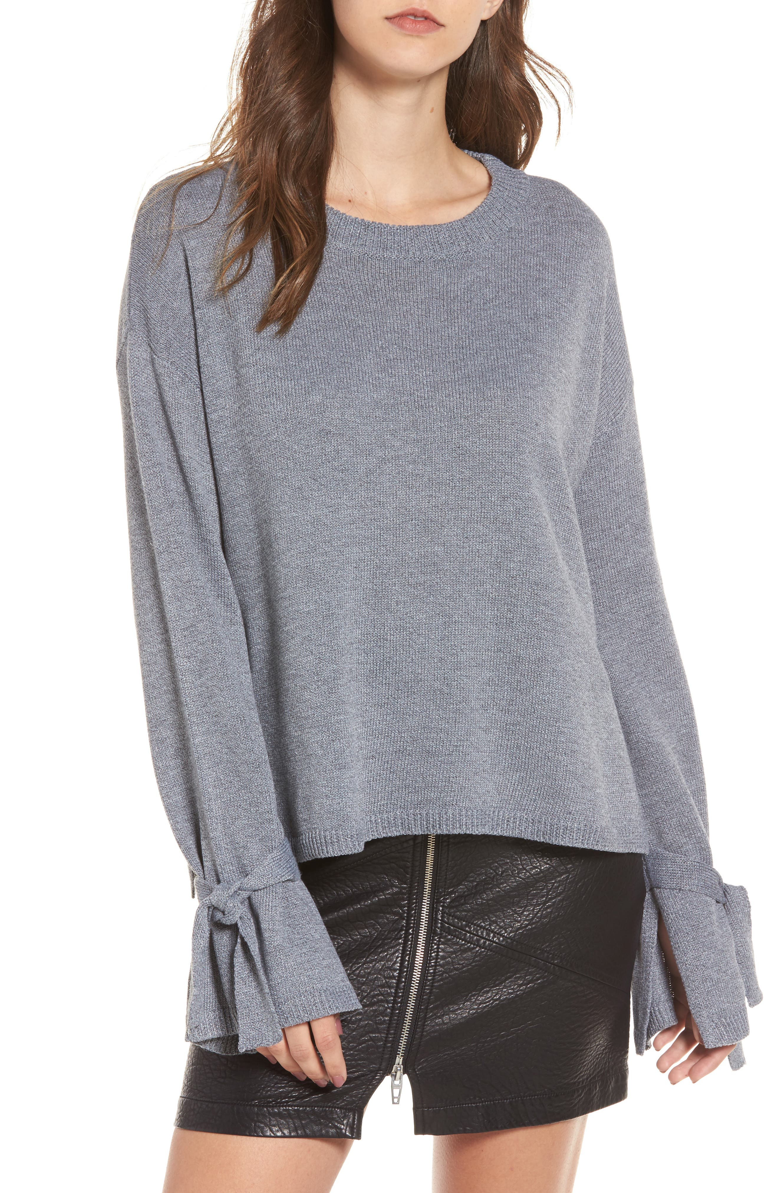 Tie Sleeve Sweater,                         Main,                         color, Heather Grey