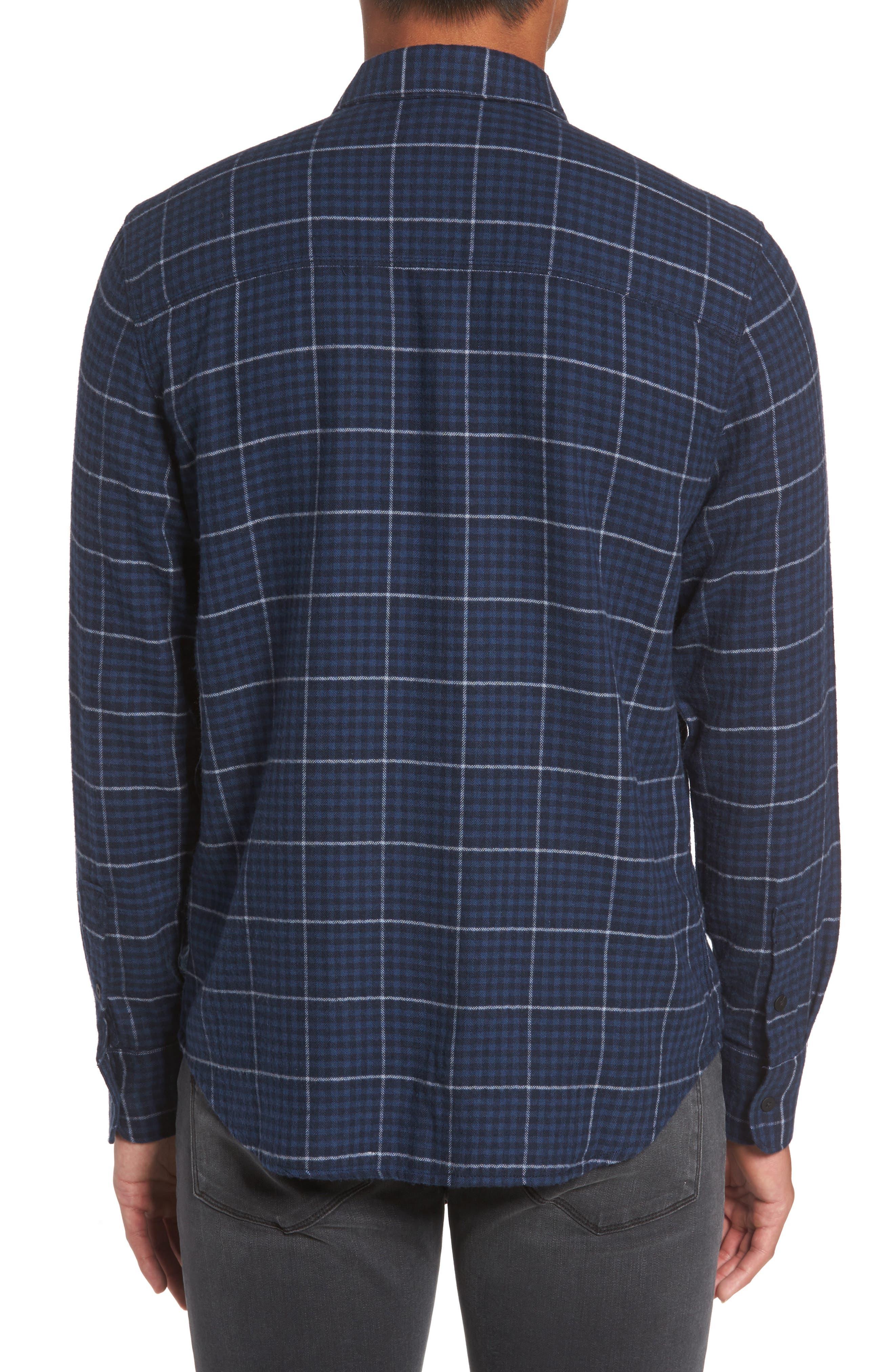 Everett Tattersall Check Sport Shirt,                             Alternate thumbnail 2, color,                             Blue Echo