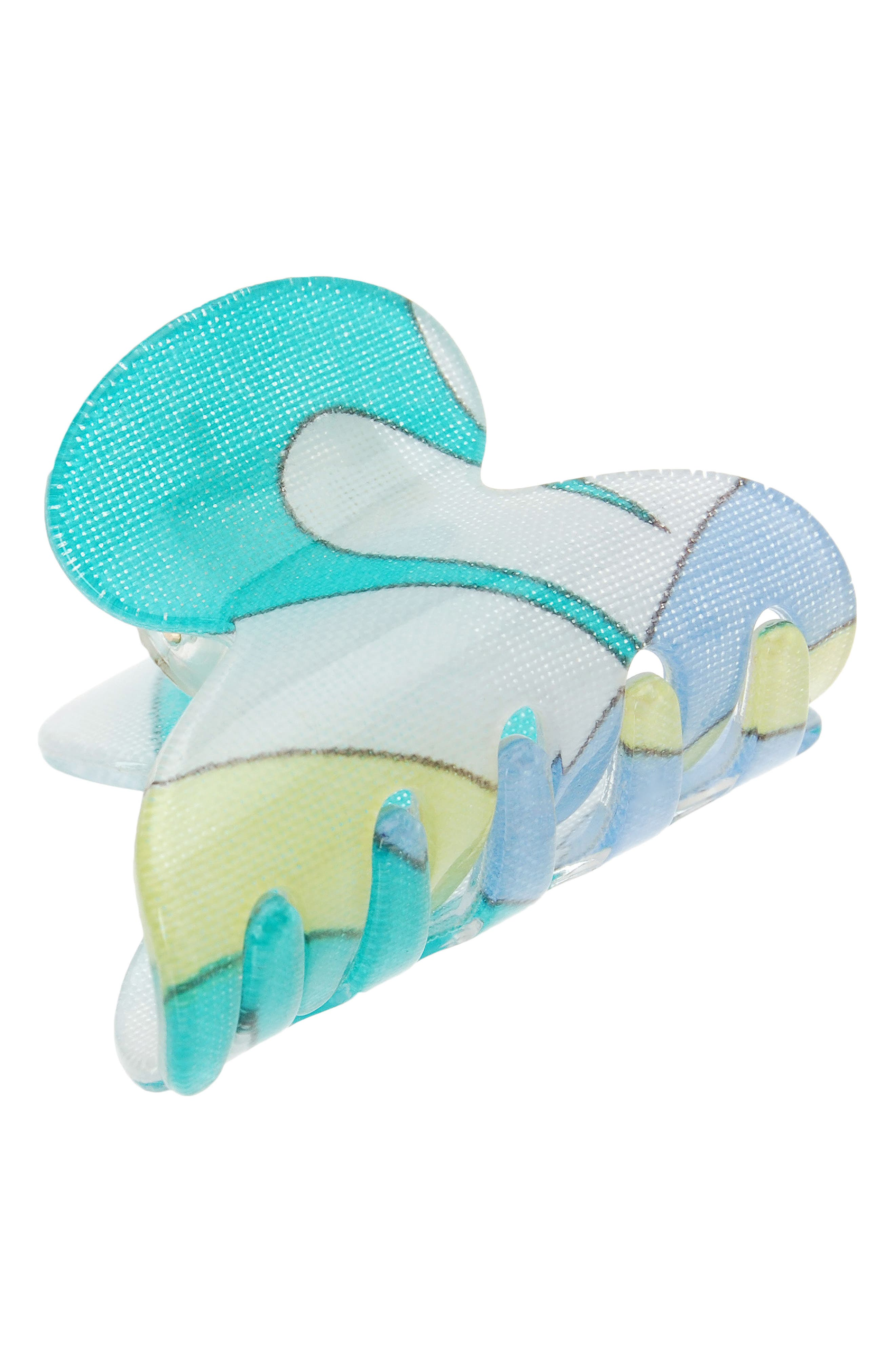 'Mini Couture' Jaw Clip,                             Main thumbnail 1, color,                             Mod Swirls Blue/ Green