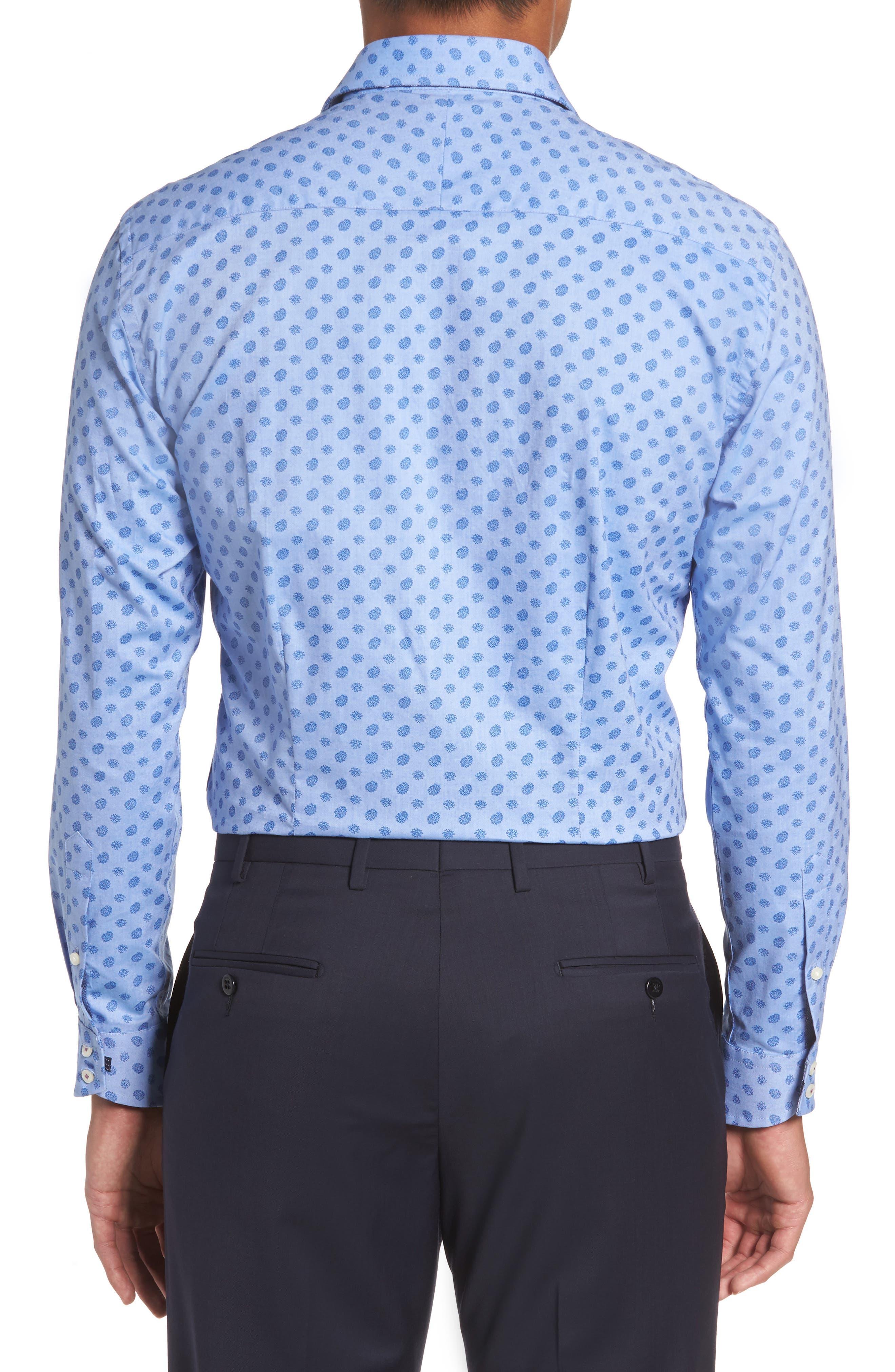 Midra Trim Fit Paisley Dress Shirt,                             Alternate thumbnail 3, color,                             Blue