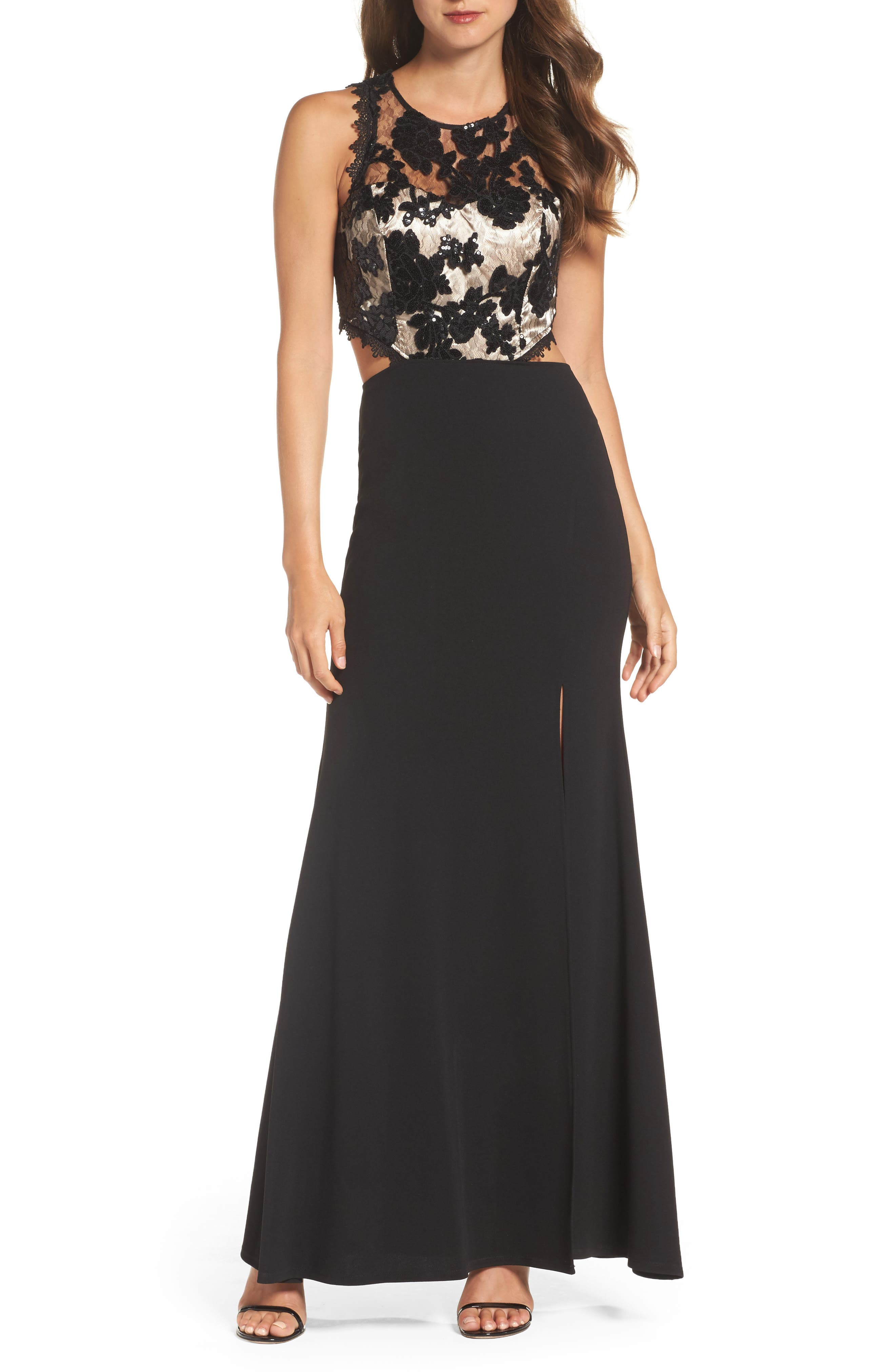 Cutout Embellished Lace & Scuba Gown,                         Main,                         color, Black/ Champagne