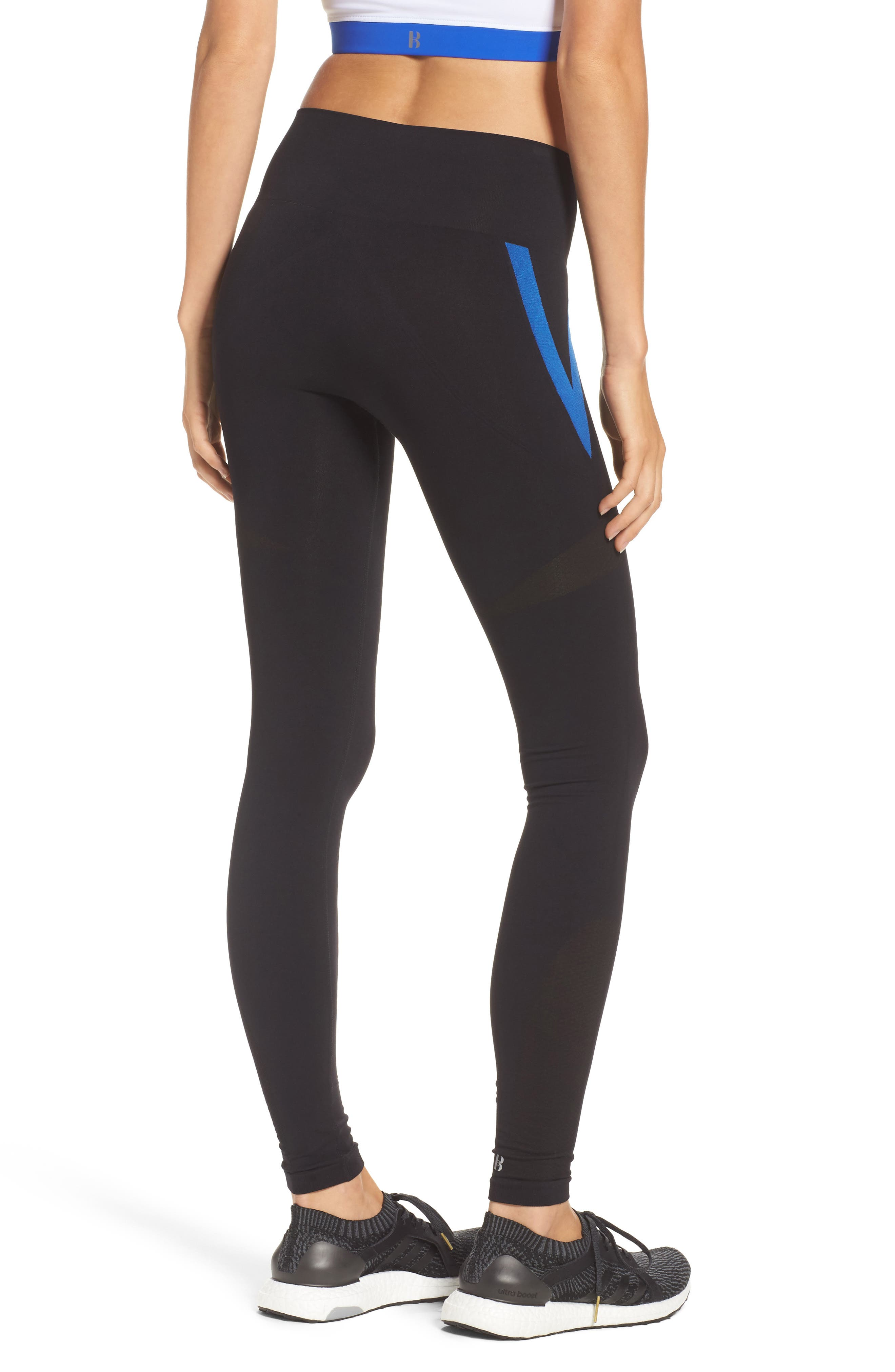 BoomBoom Athletica Leggings,                             Alternate thumbnail 2, color,                             Black With Blue