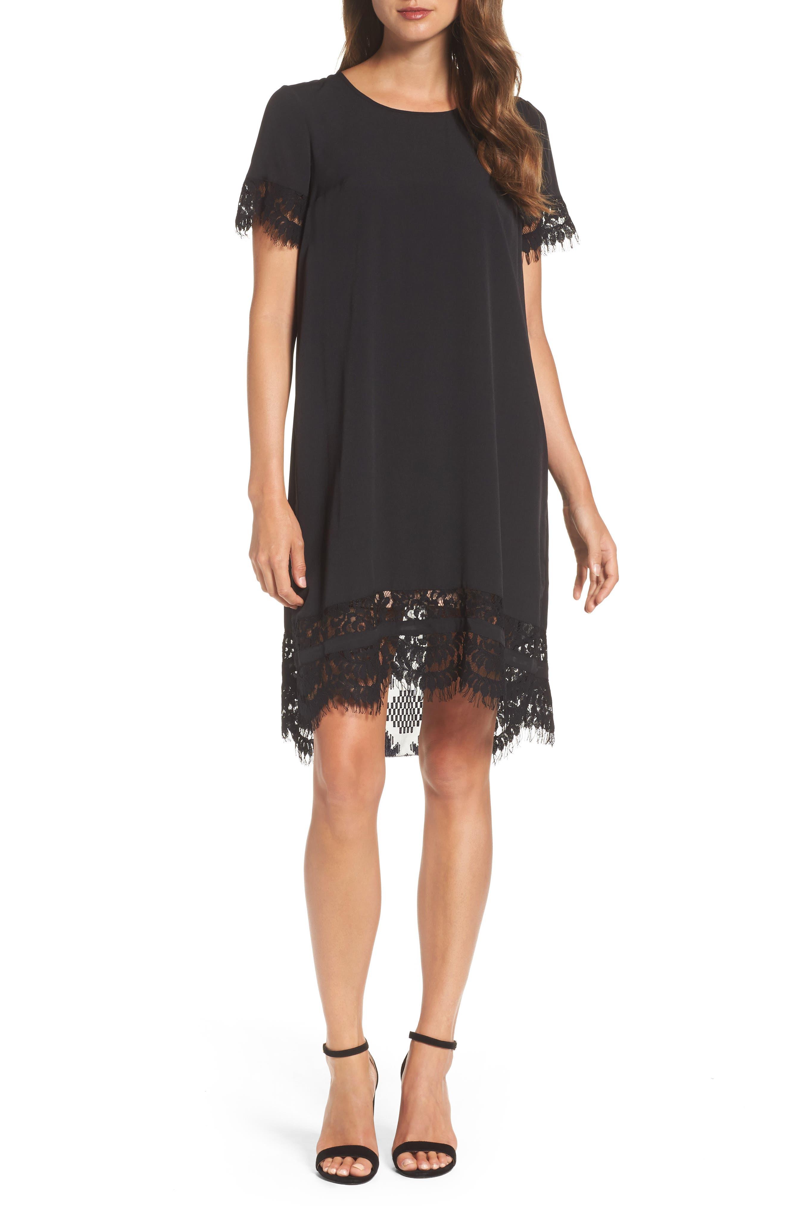 Crepe Shift Dress,                         Main,                         color, Black
