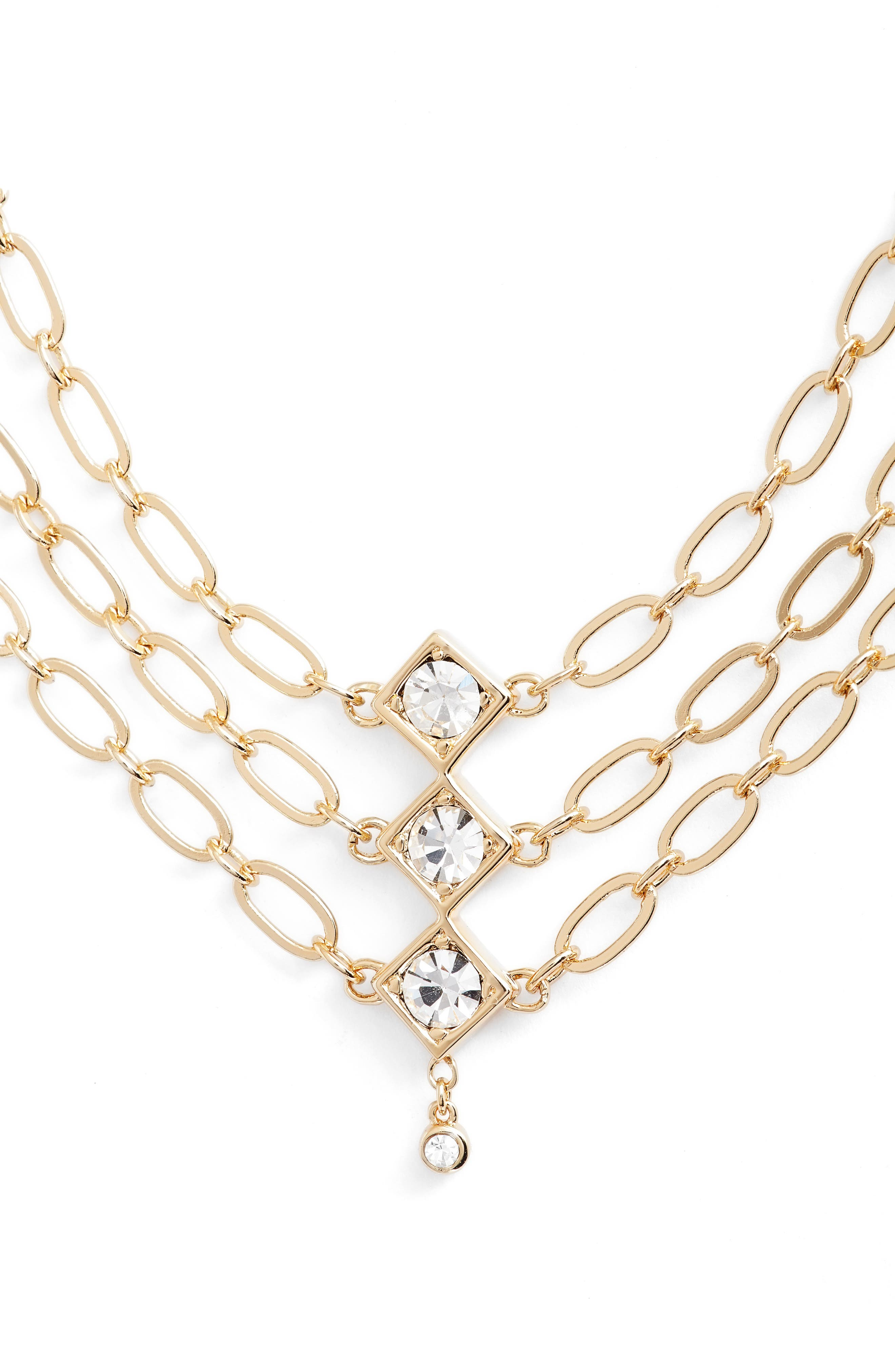 Tulum Multistrand Necklace,                         Main,                         color, Gold/ Clear