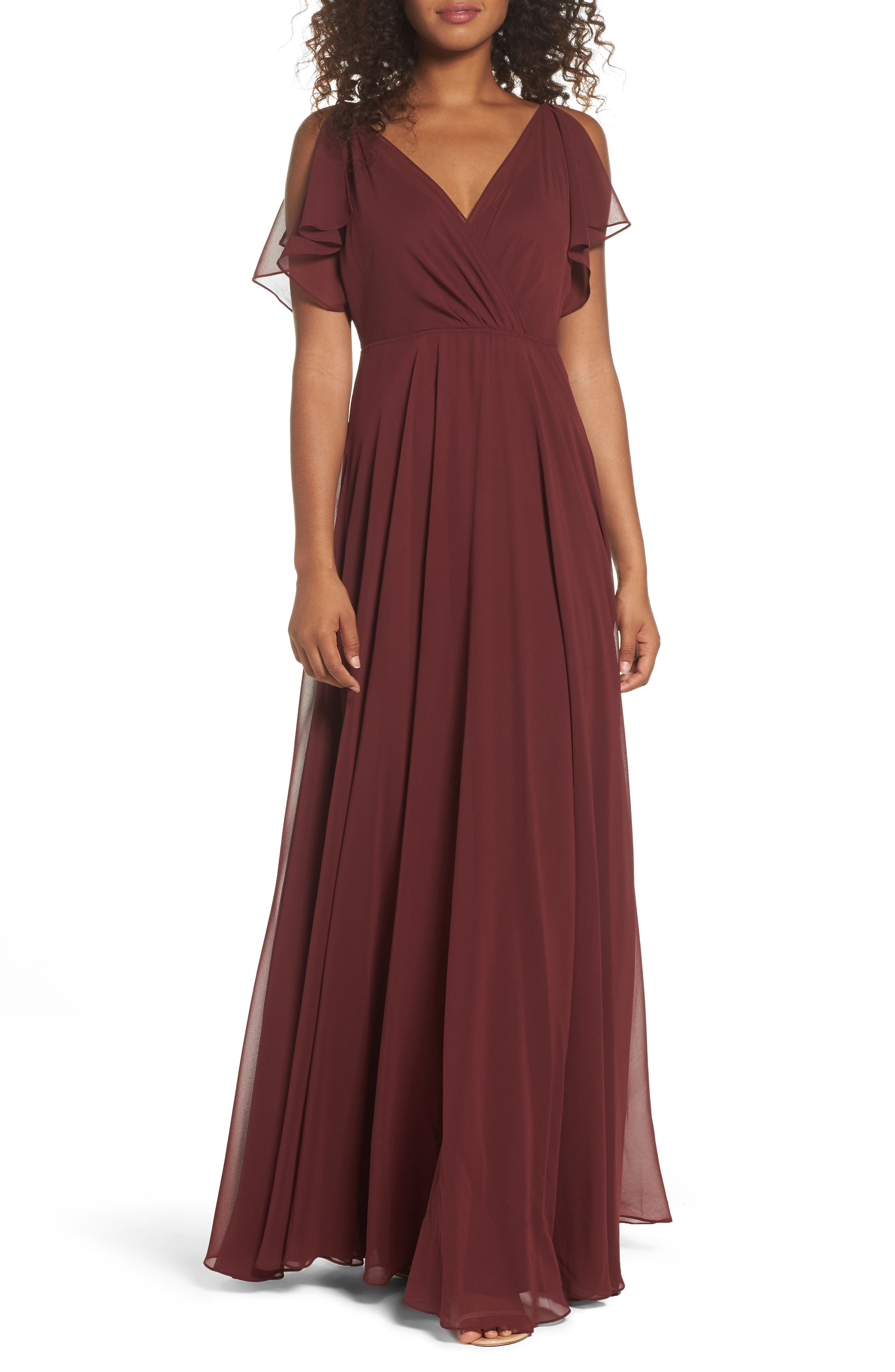 Cassie Flutter Sleeve Chiffon A-Line Gown,                             Main thumbnail 1, color,                             Hibiscus