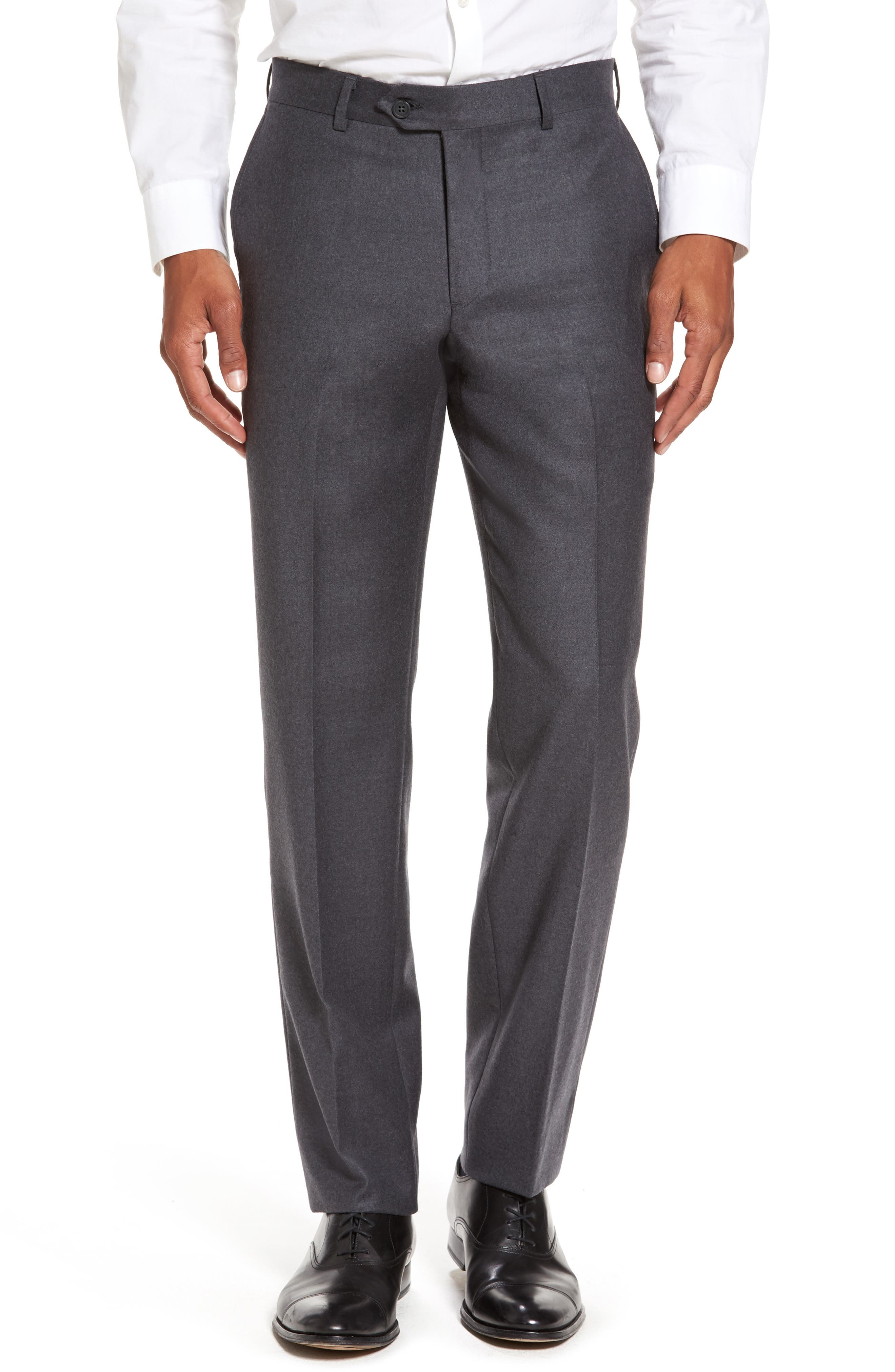 Main Image - Nordstrom Men's Shop Flat Front Solid Wool Trousers