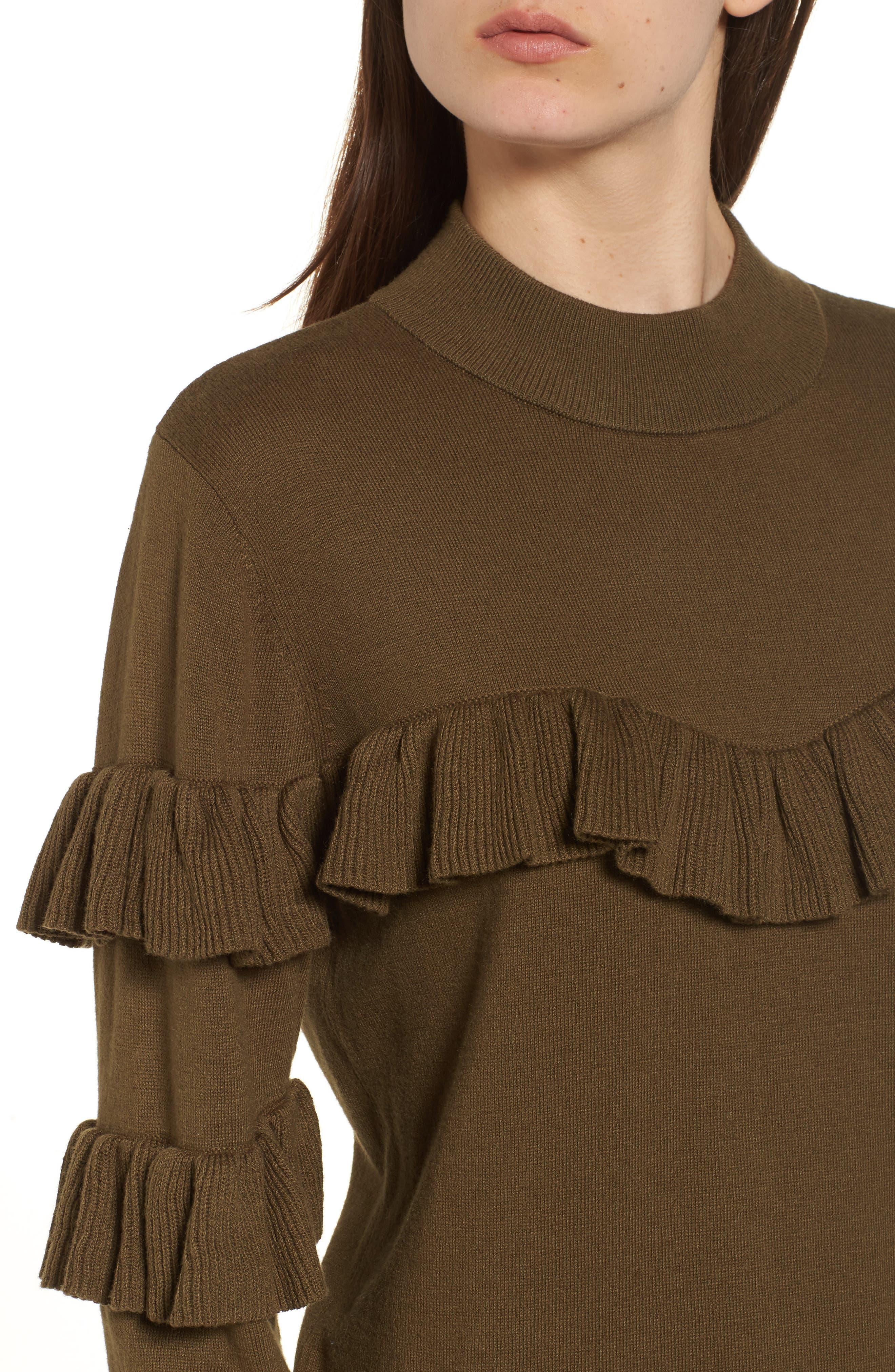 Ruffle Sweater Dress,                             Alternate thumbnail 4, color,                             Olive Dark