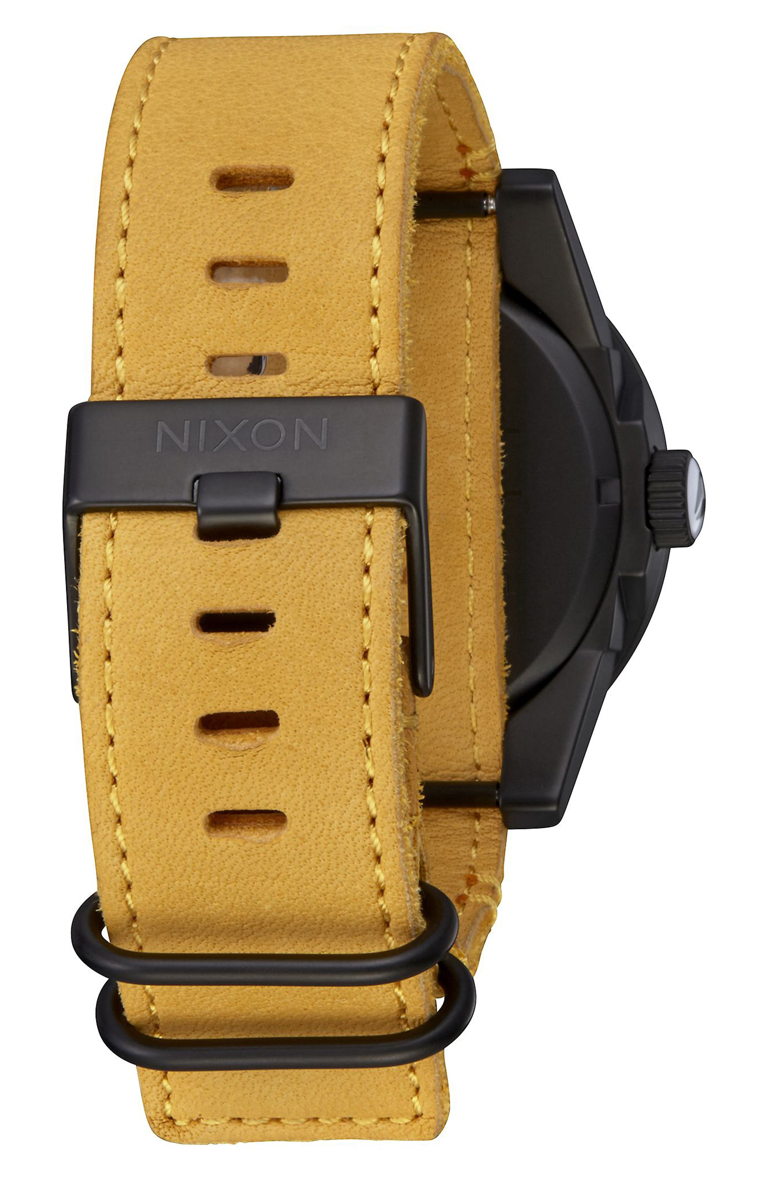 'The Corporal' Leather Strap Watch, 48mm,                             Alternate thumbnail 2, color,                             Goldenrod/ Black