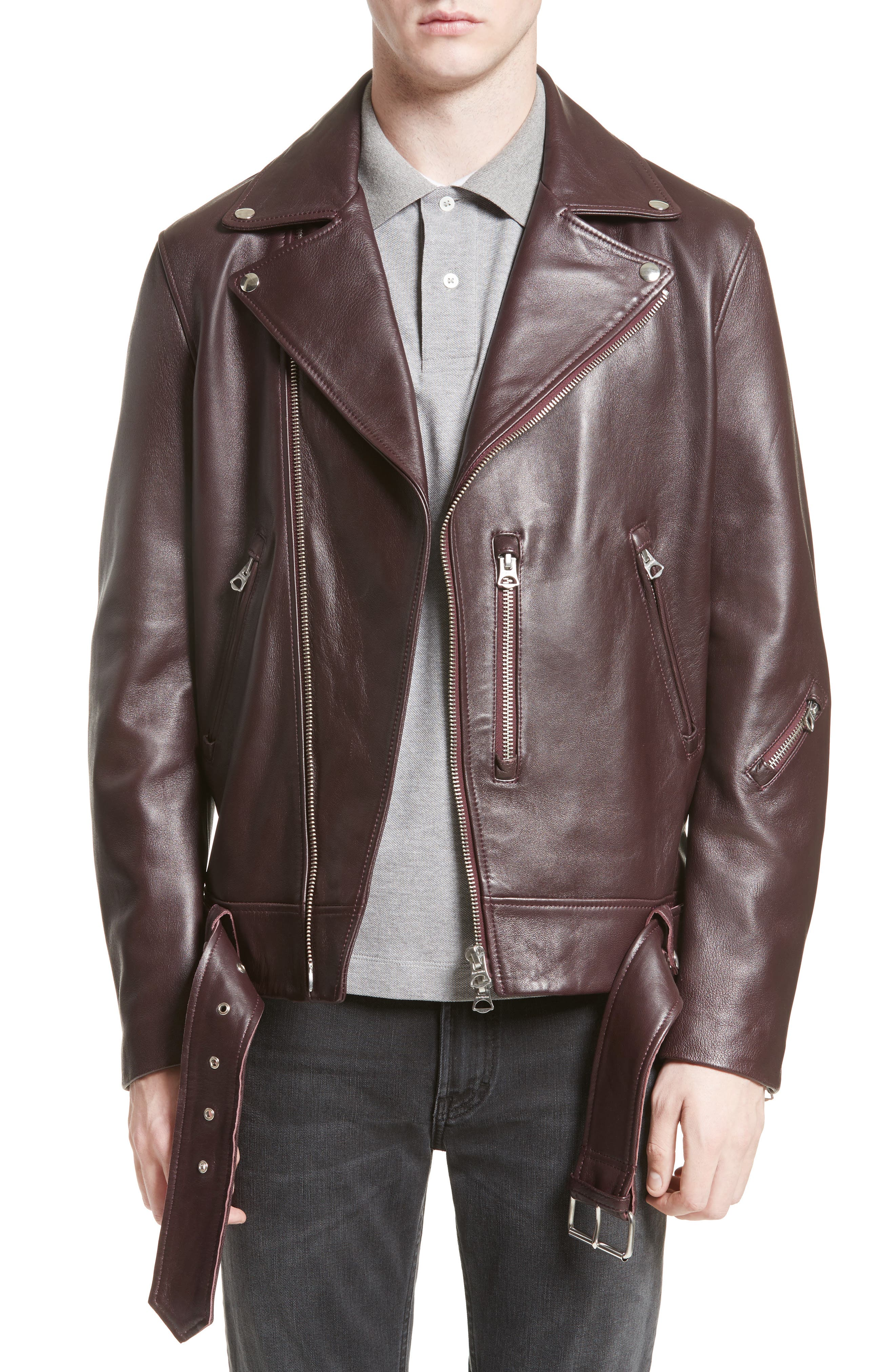 Acne Nate Leather Jacket,                             Main thumbnail 1, color,                             Oxblood Red
