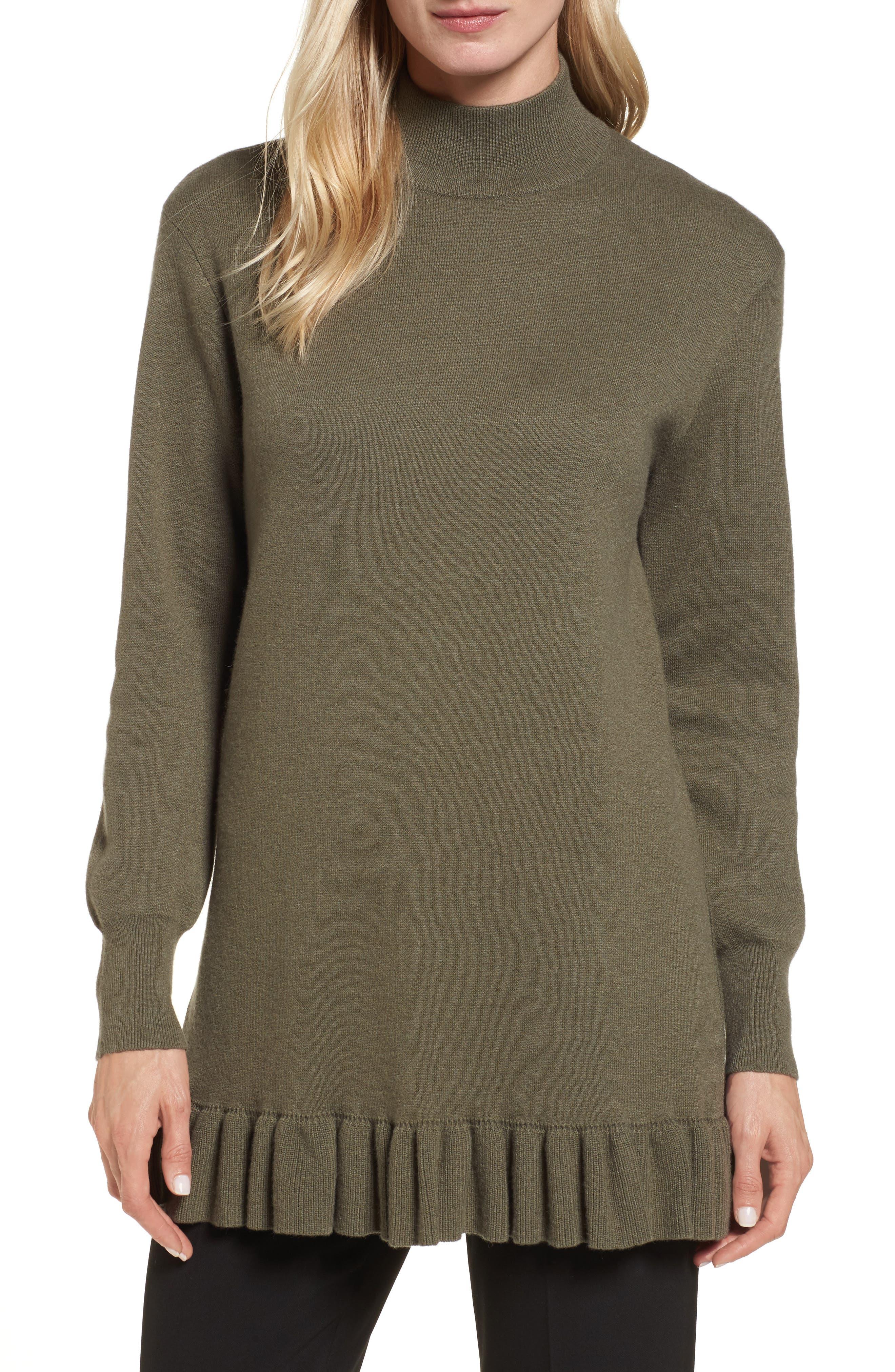 Ruffle Hem Cashmere Blend Tunic,                         Main,                         color, Olive Dusk