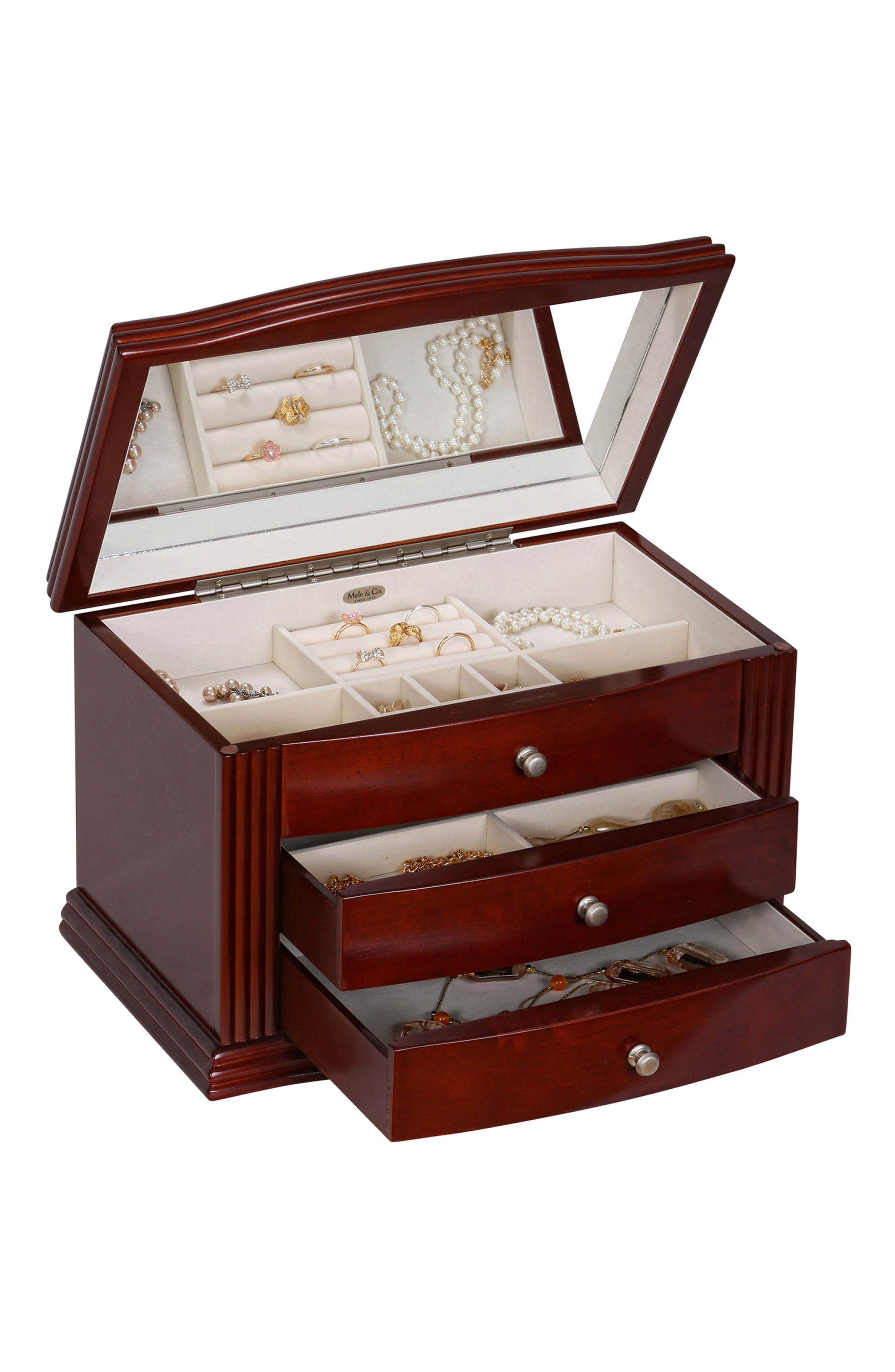 Georgia Wooden Jewelry Box,                             Alternate thumbnail 4, color,                             Brown