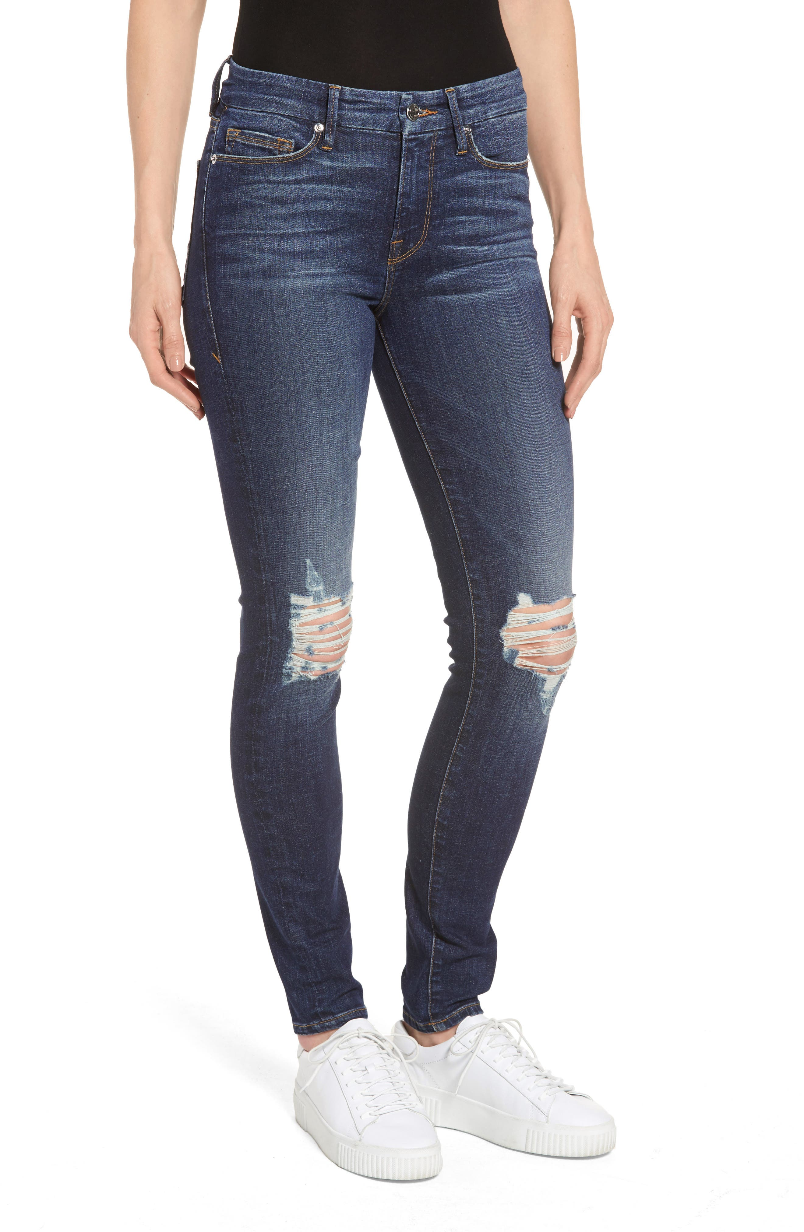 Good American Good Legs Ripped Skinny Jeans (Blue 081) (Extended Sizes)