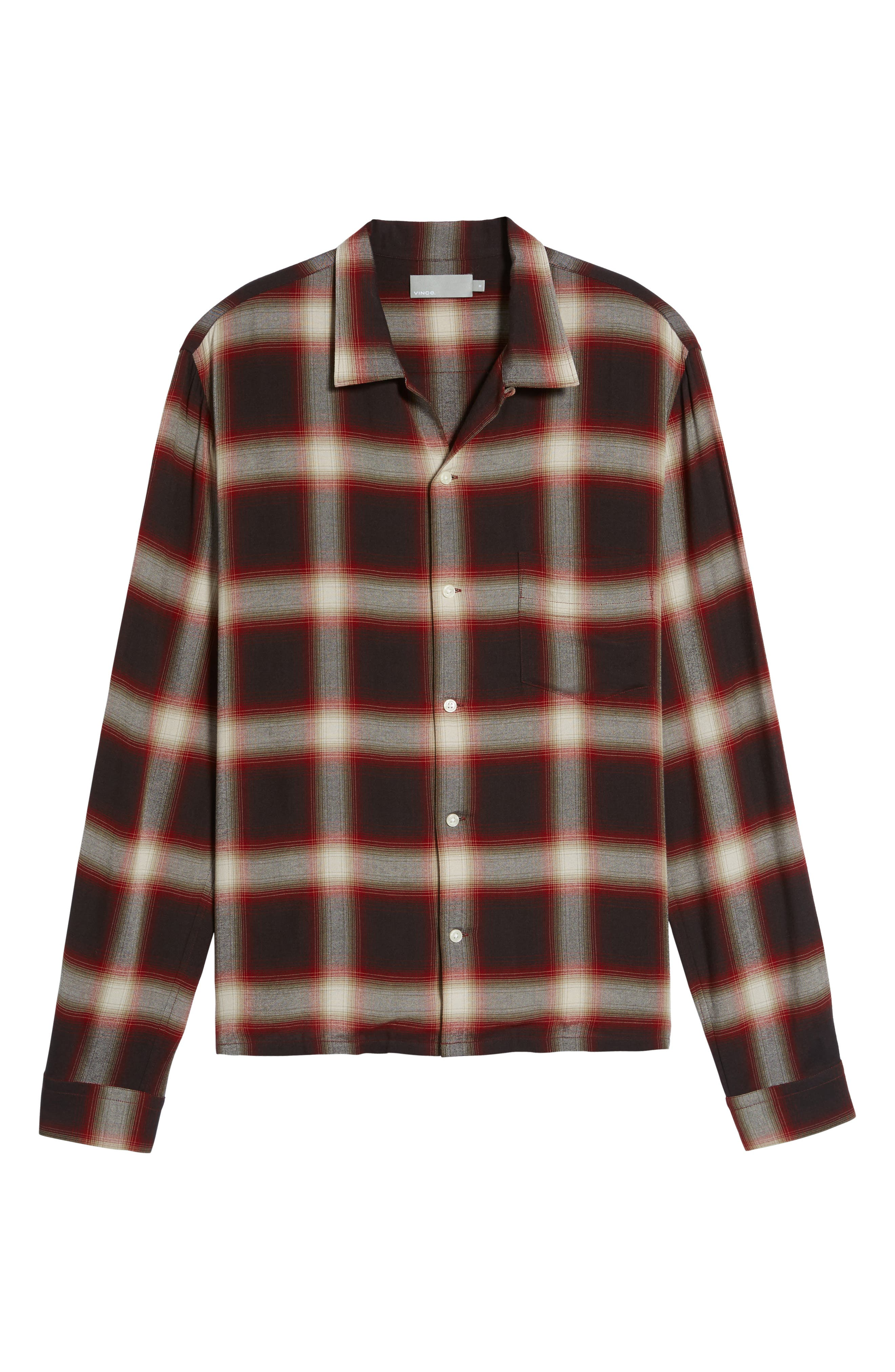 Ombré Check Sport Shirt,                             Alternate thumbnail 5, color,                             Red