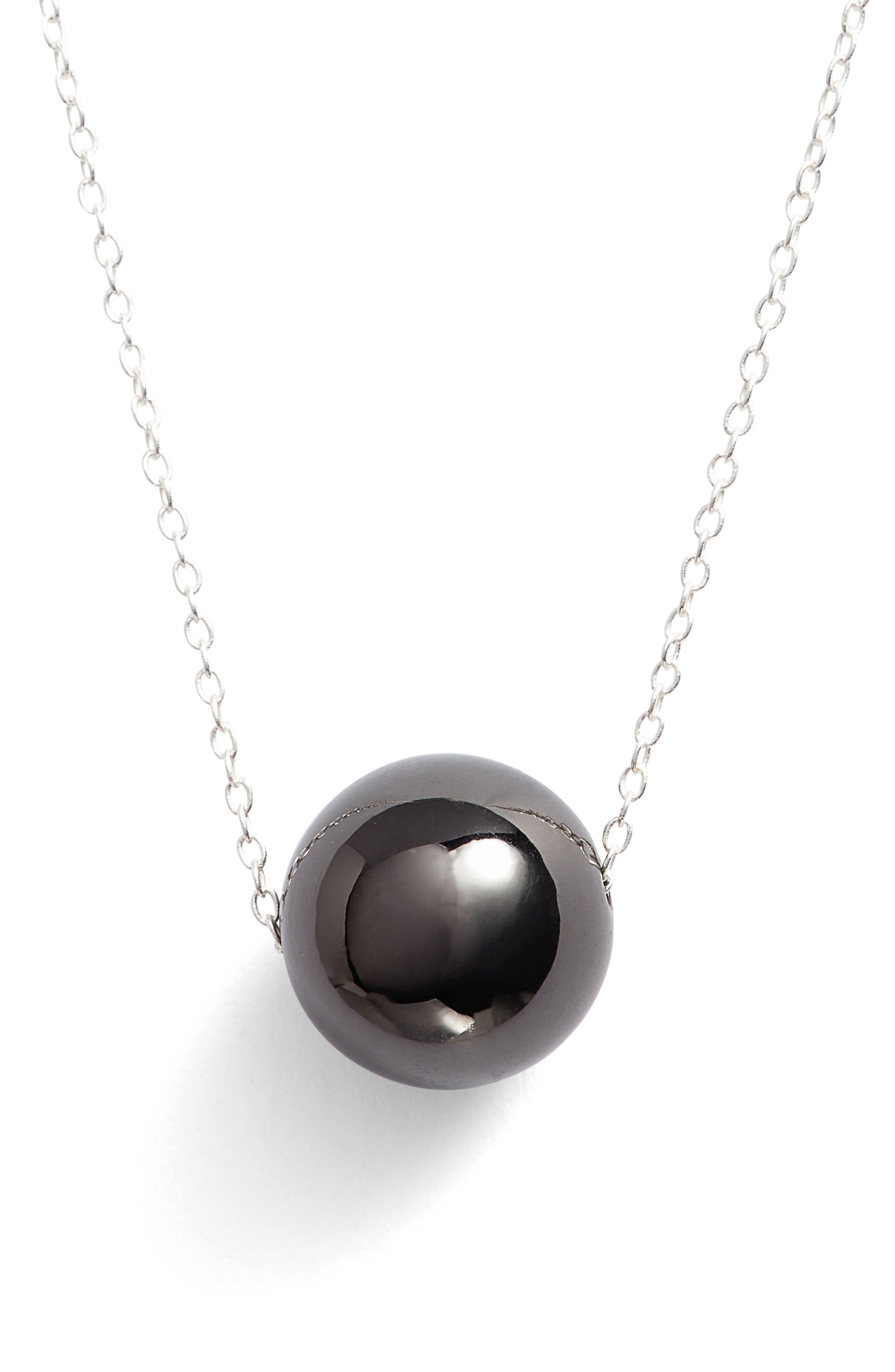 Sphere Pendant Necklace,                         Main,                         color, Silver