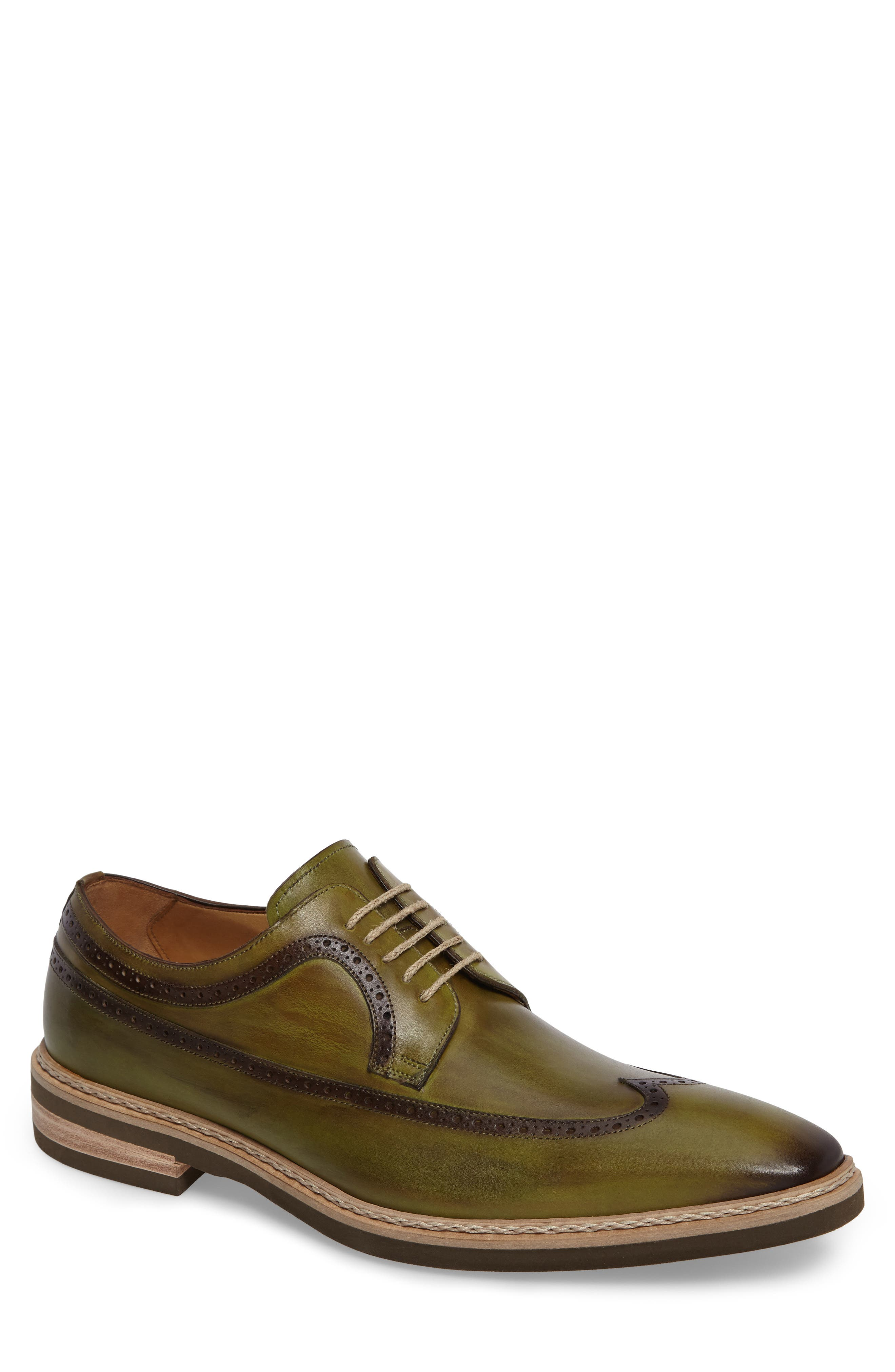 Maraval Wingtip,                         Main,                         color, Olive Leather