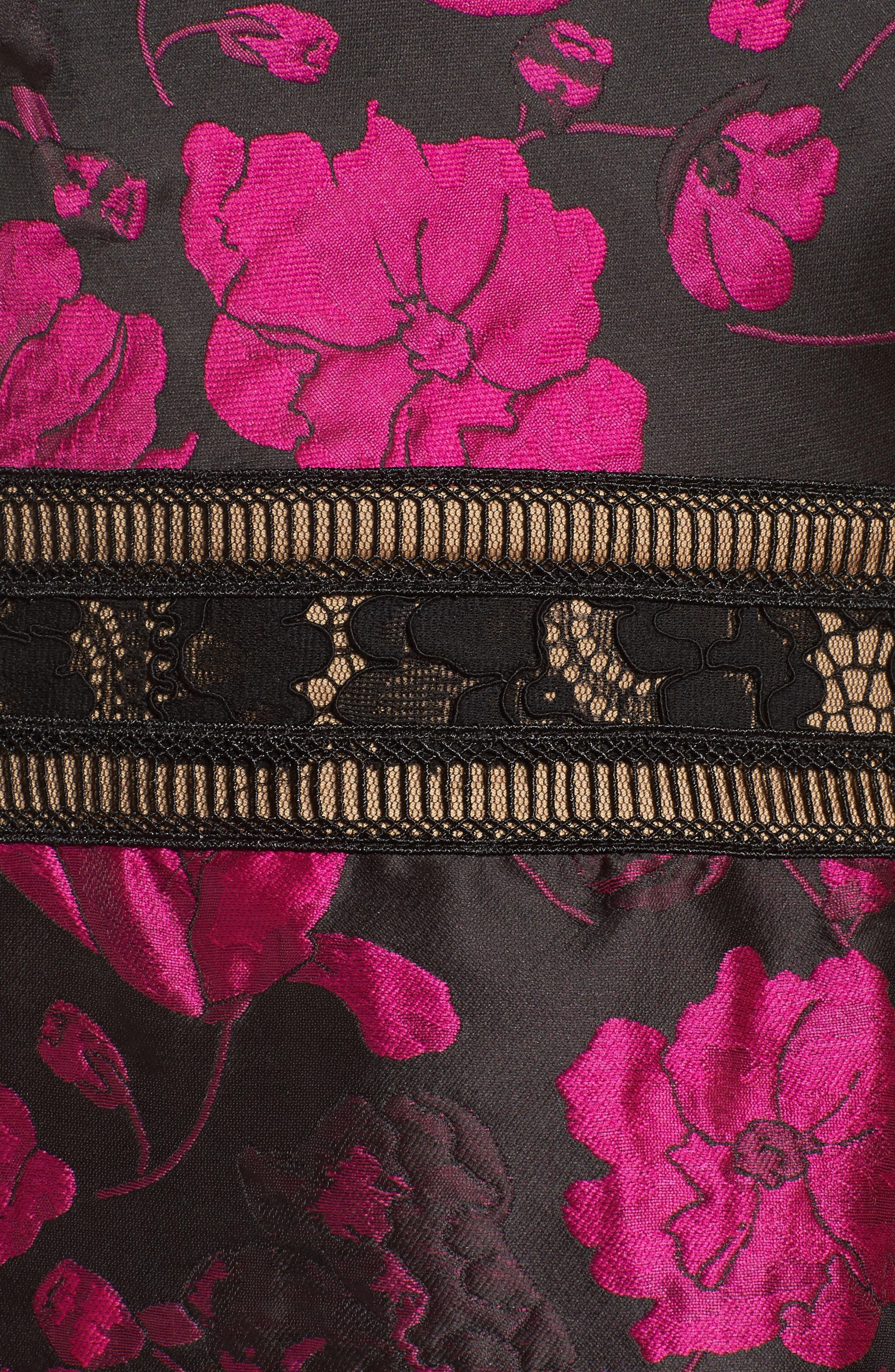 Lace Trim Rose Jacquard Midi Dress,                             Alternate thumbnail 5, color,                             Fuchsia/ Black