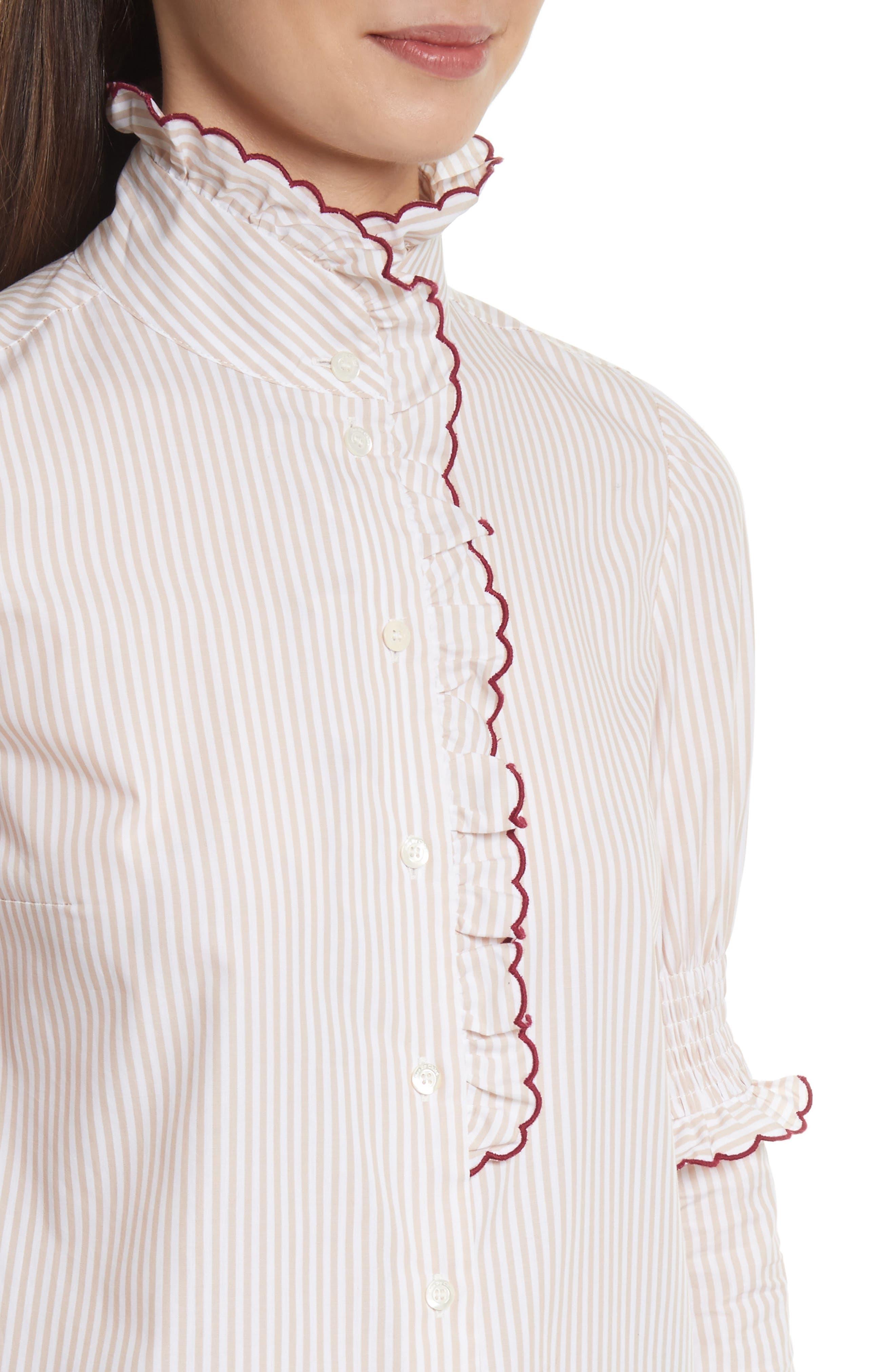 Stripe Cotton Shirt,                             Alternate thumbnail 4, color,                             Beige-White