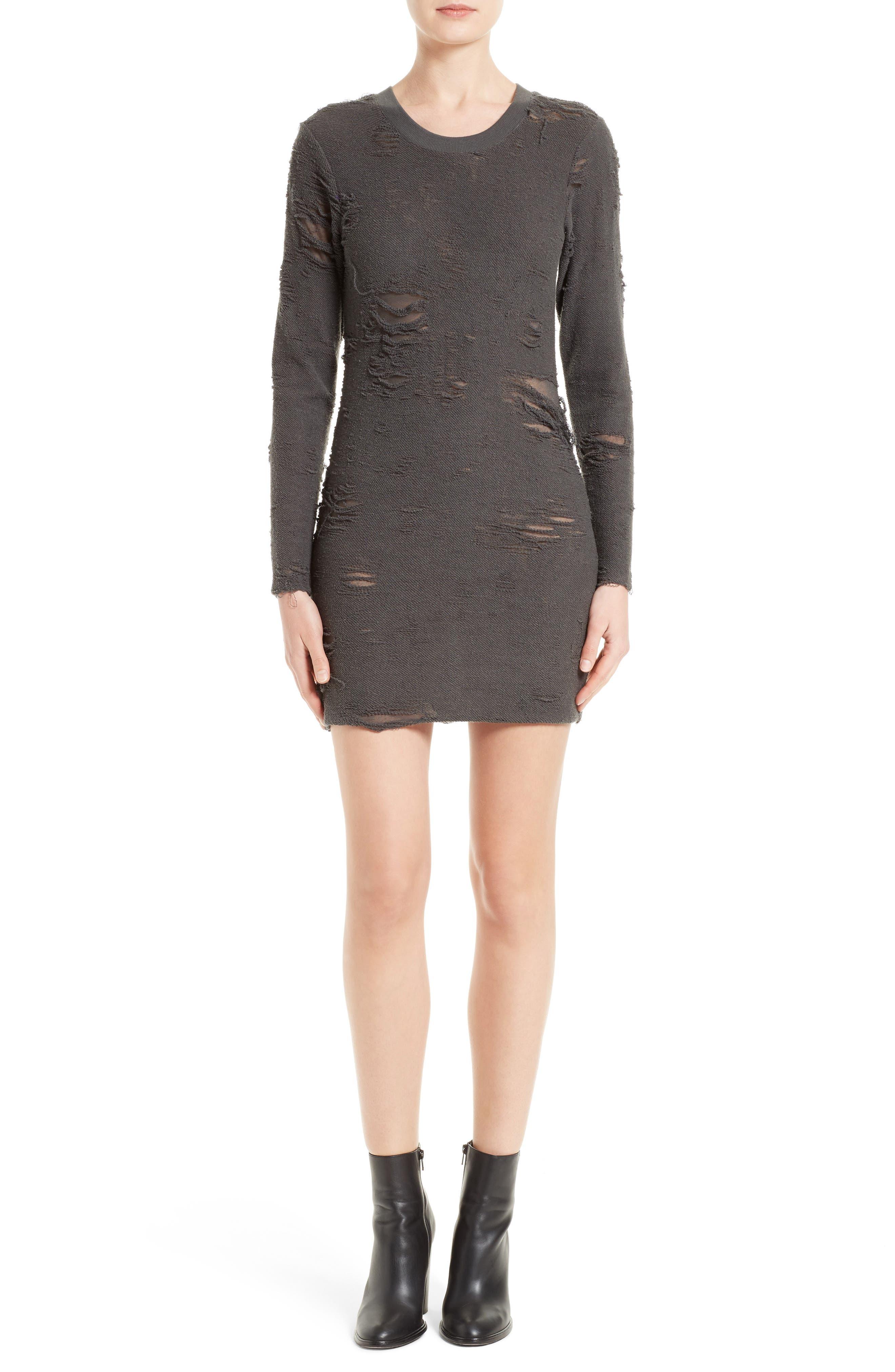 Cevoc Distressed Dress,                         Main,                         color, Anthracite