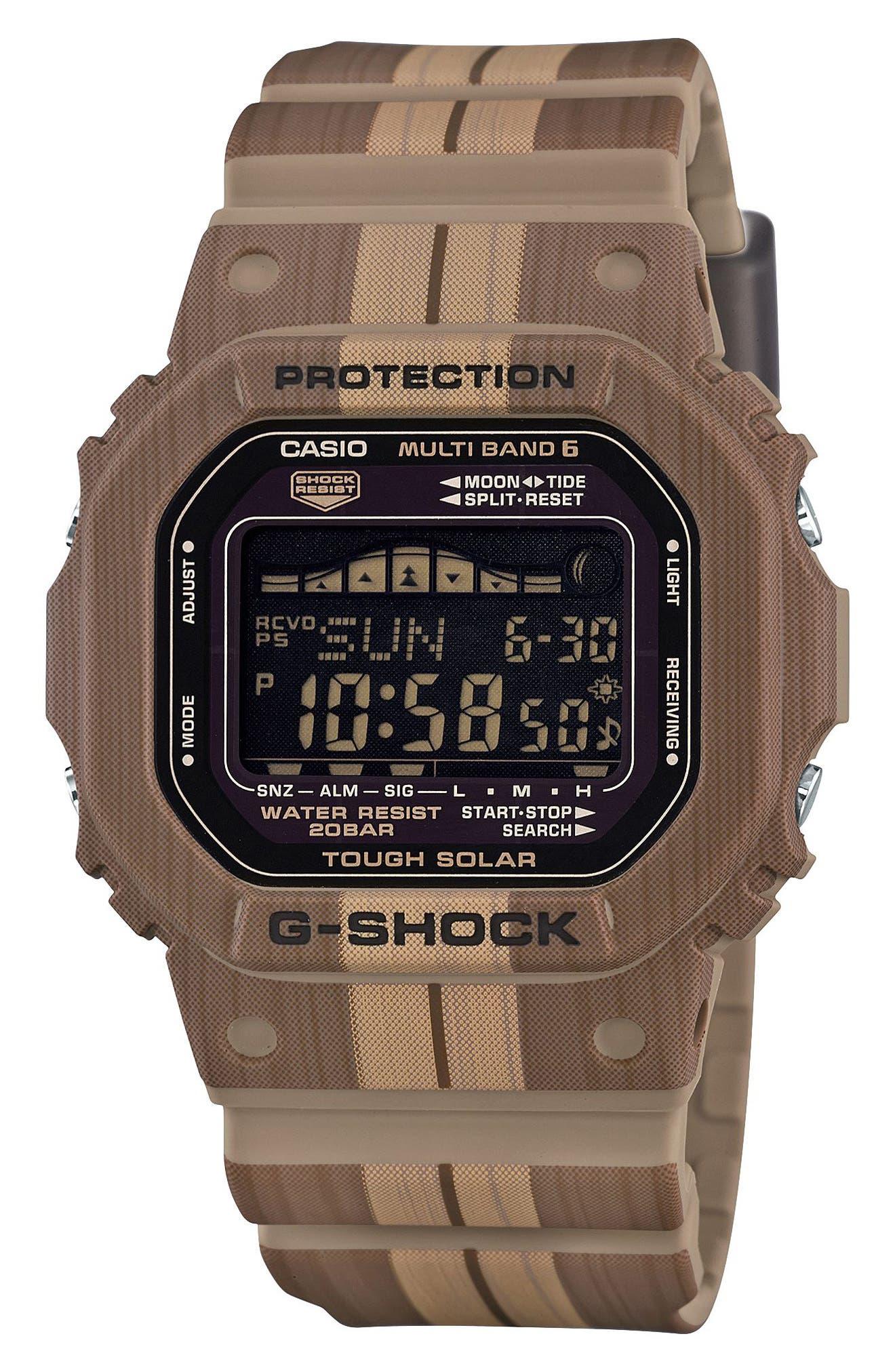 G-Shock Digital Solar Tide Graphic Watch, 42mm,                             Main thumbnail 1, color,                             Brown/ Black