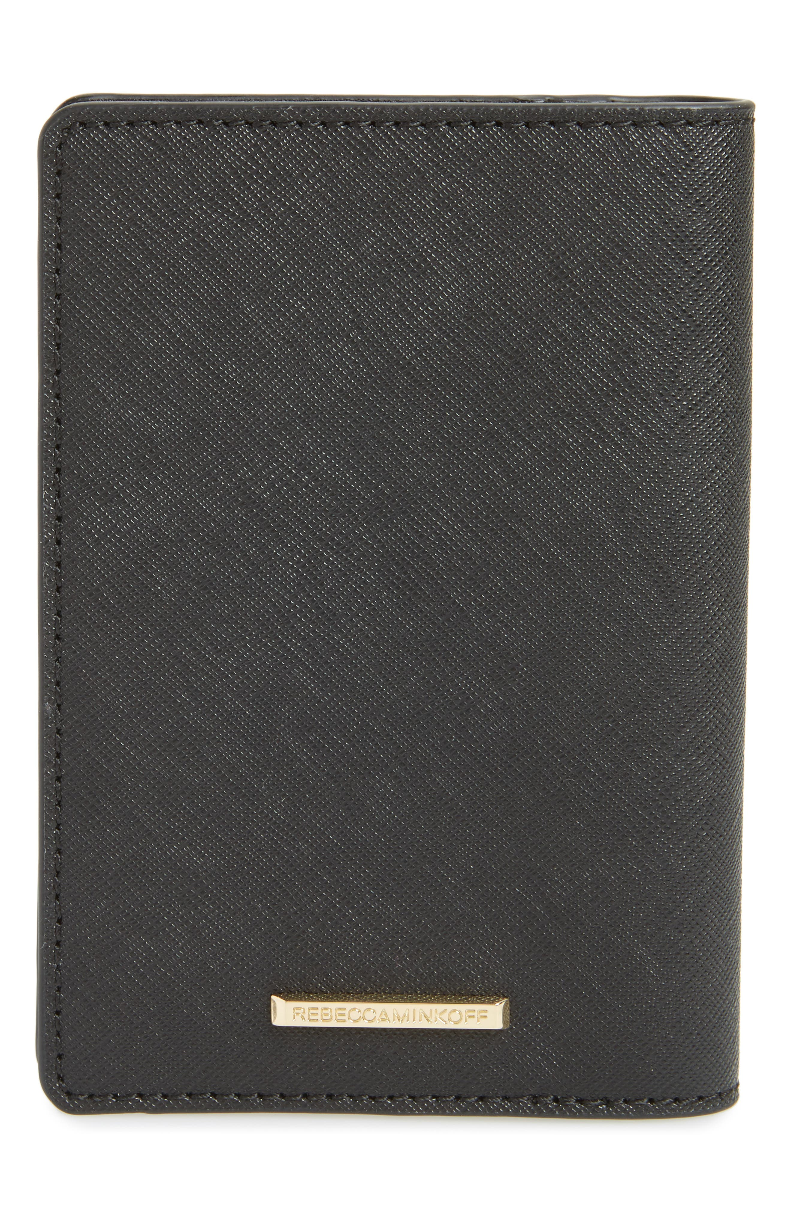 Leather Passport Holder,                             Alternate thumbnail 4, color,                             Black
