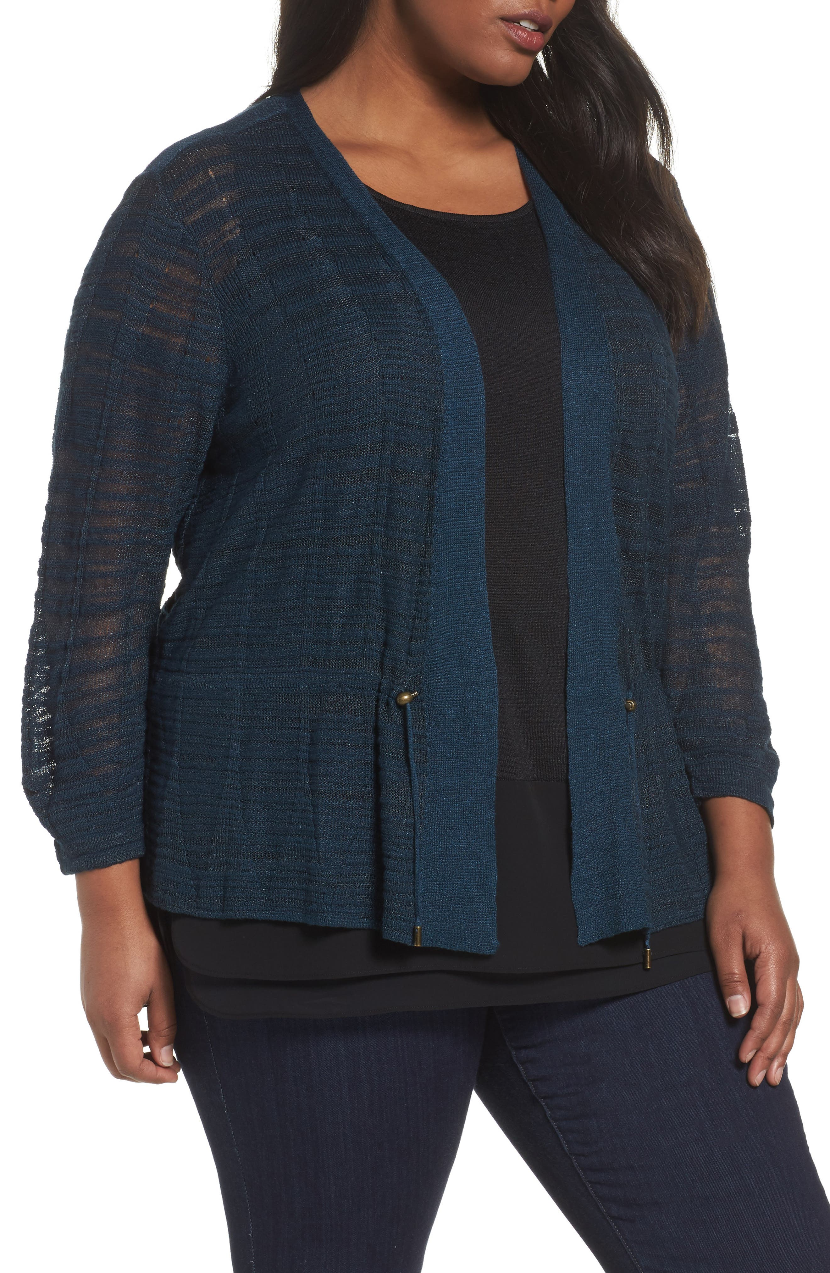 NIC+ZOE Cinched Knit Cardigan (Plus Size)