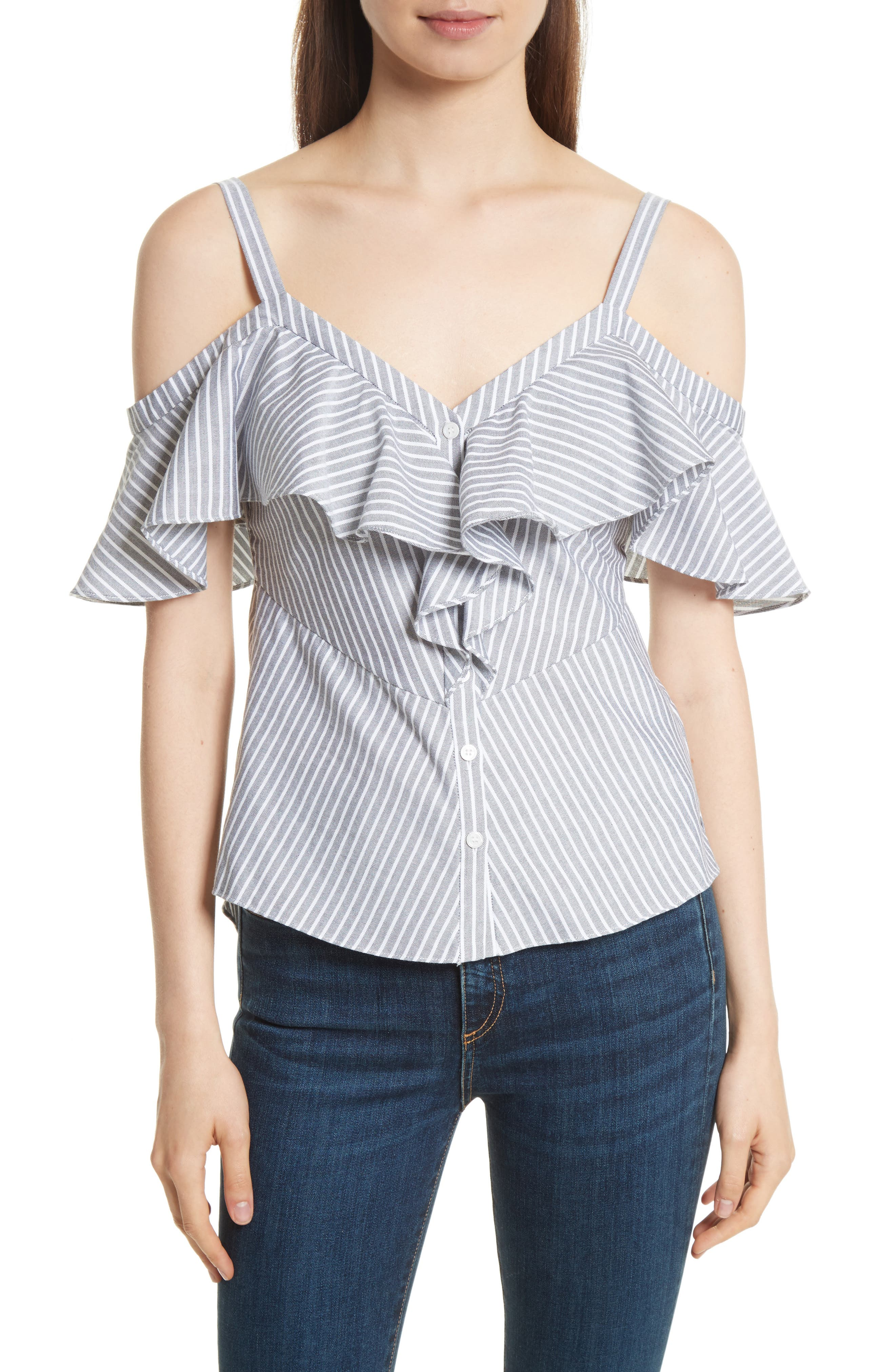 Grant Ruffle Off the Shoulder Top,                         Main,                         color, Black/ White