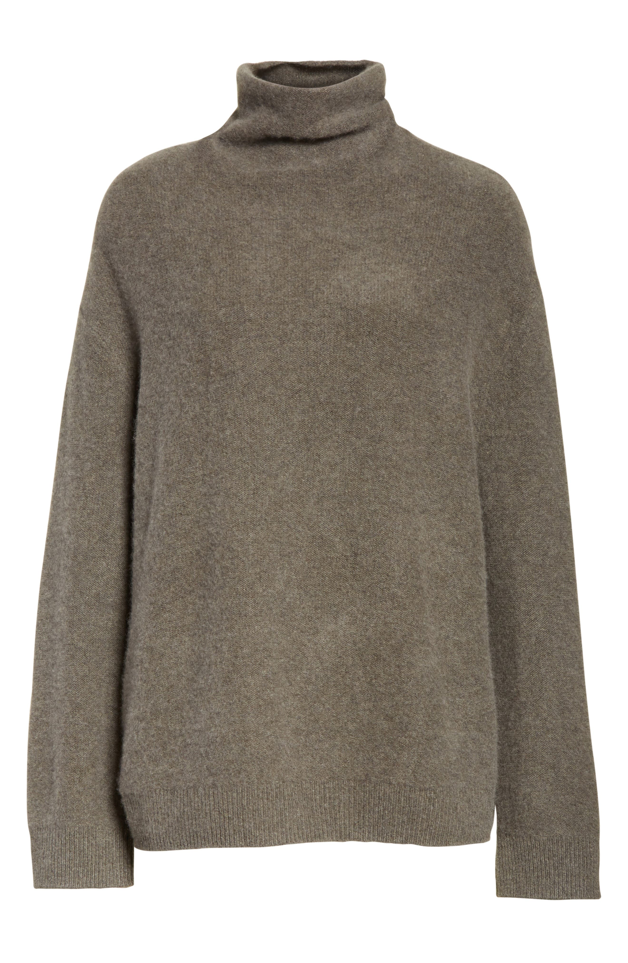 Boxy Mock Neck Cashmere Sweater,                             Alternate thumbnail 6, color,                             Desert Sage