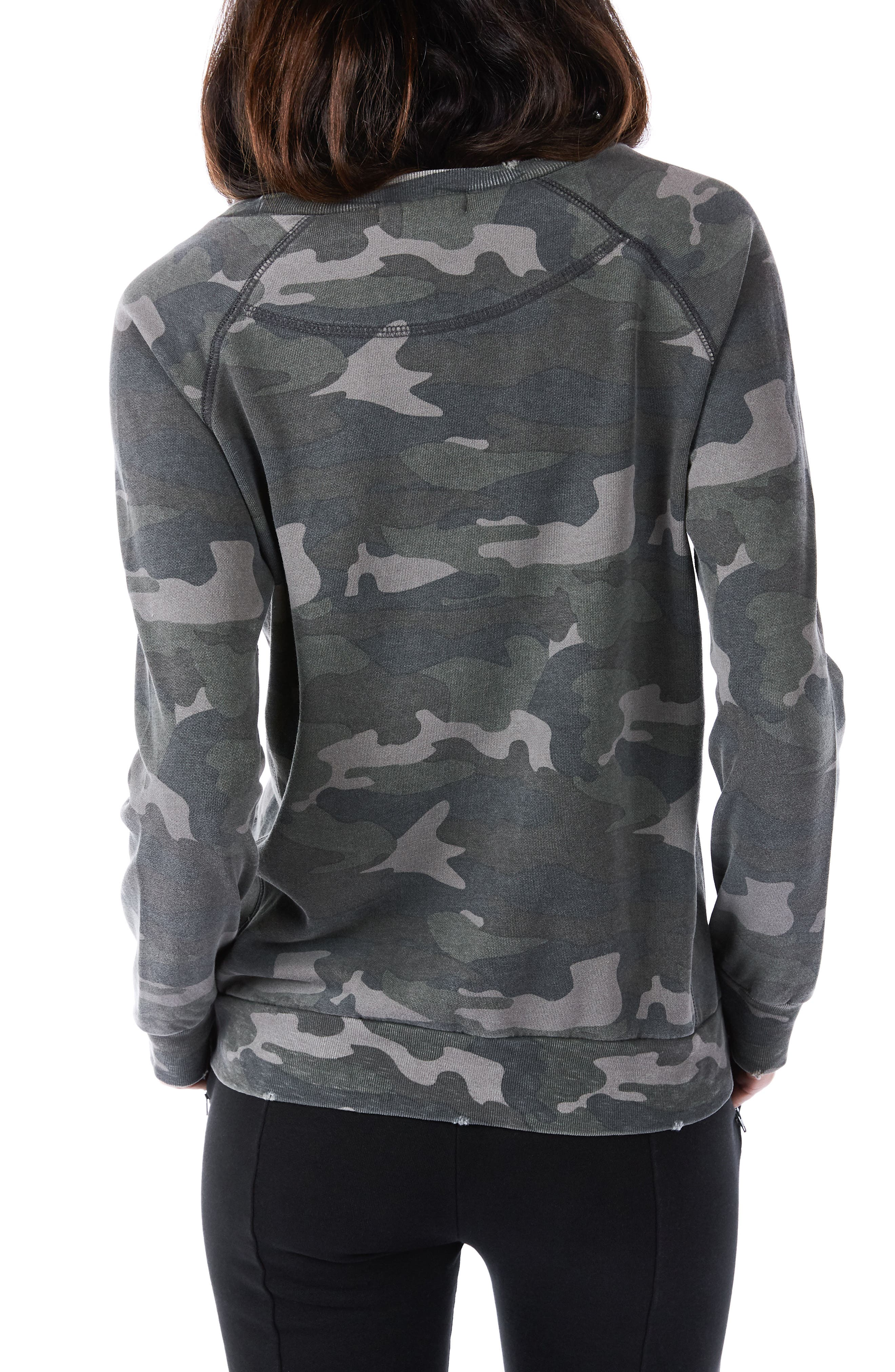 Distressed Camo Sweatshirt,                             Alternate thumbnail 2, color,                             Army Camo