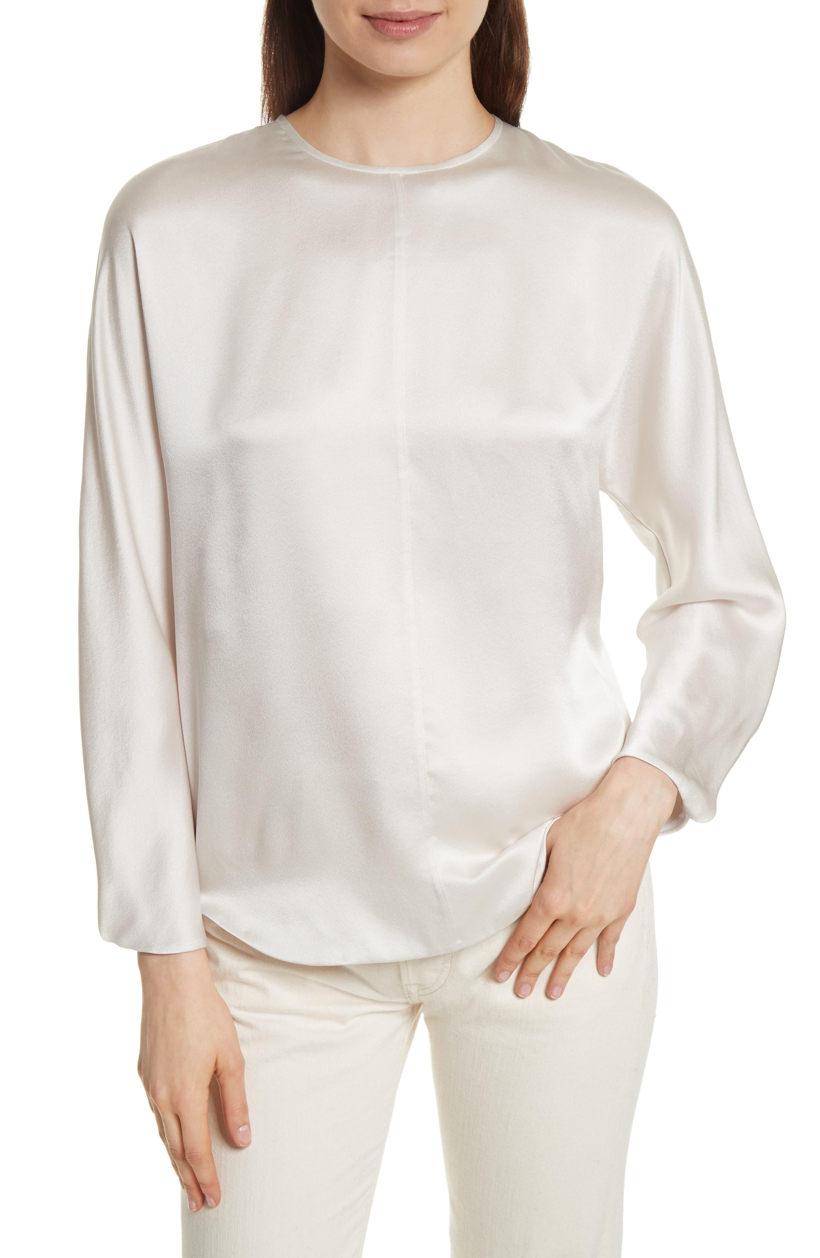 Split Back Silk Blouse,                         Main,                         color, Whip Cream