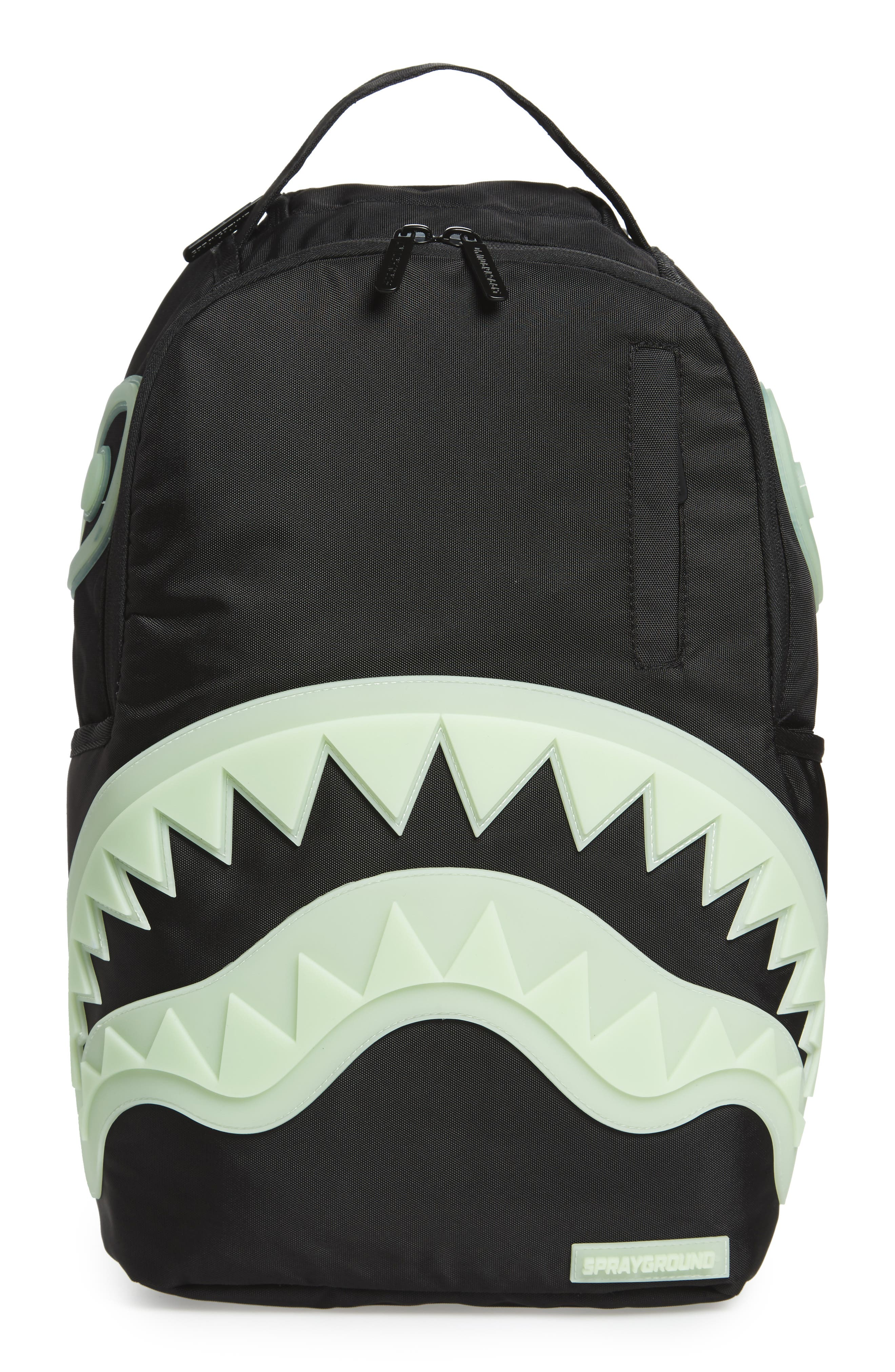 Glow in the Dark Shark Backpack,                             Main thumbnail 1, color,                             Black