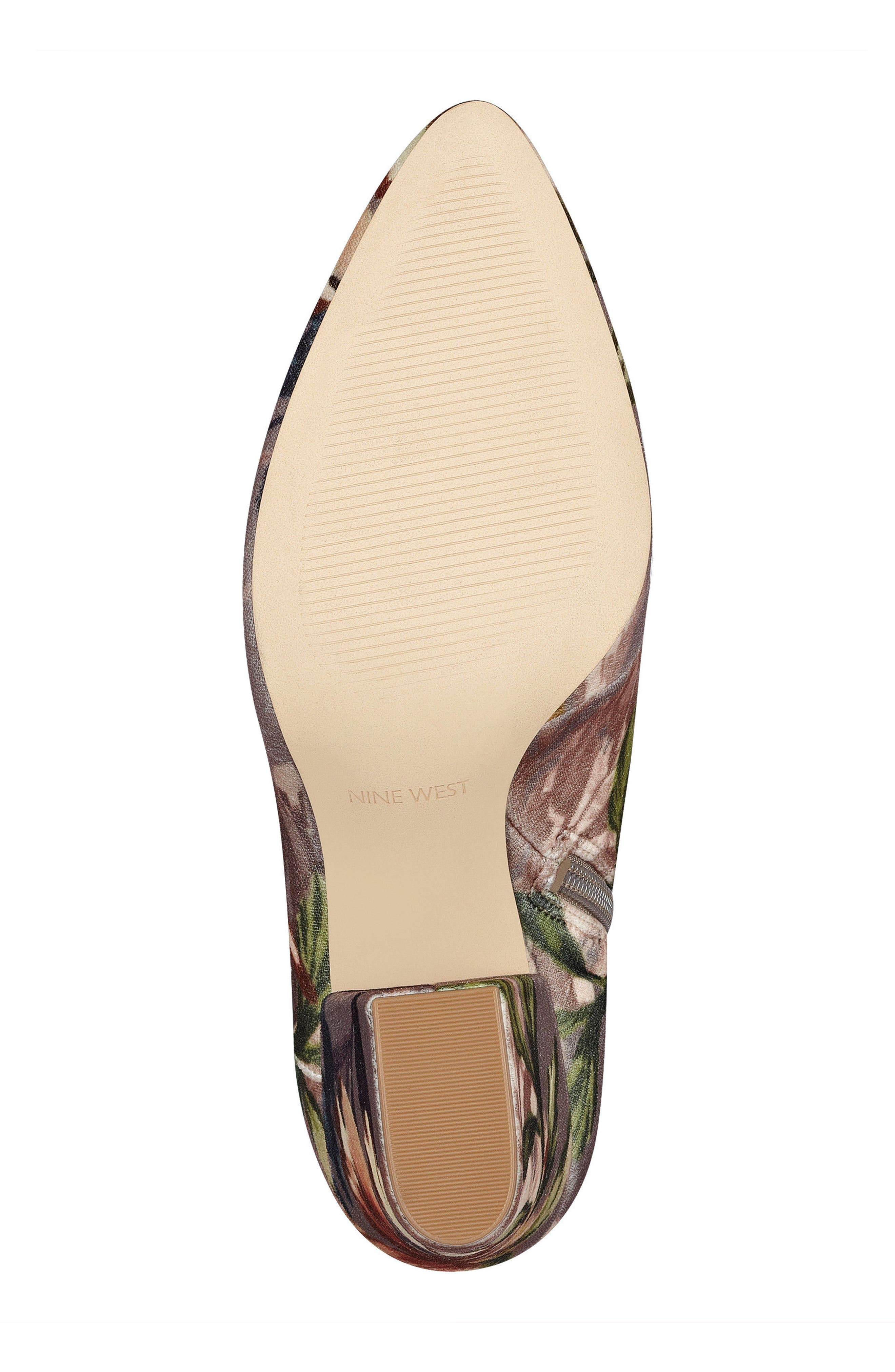Savitra Pointy Toe Bootie,                             Alternate thumbnail 6, color,                             Taupe Multi Fabric