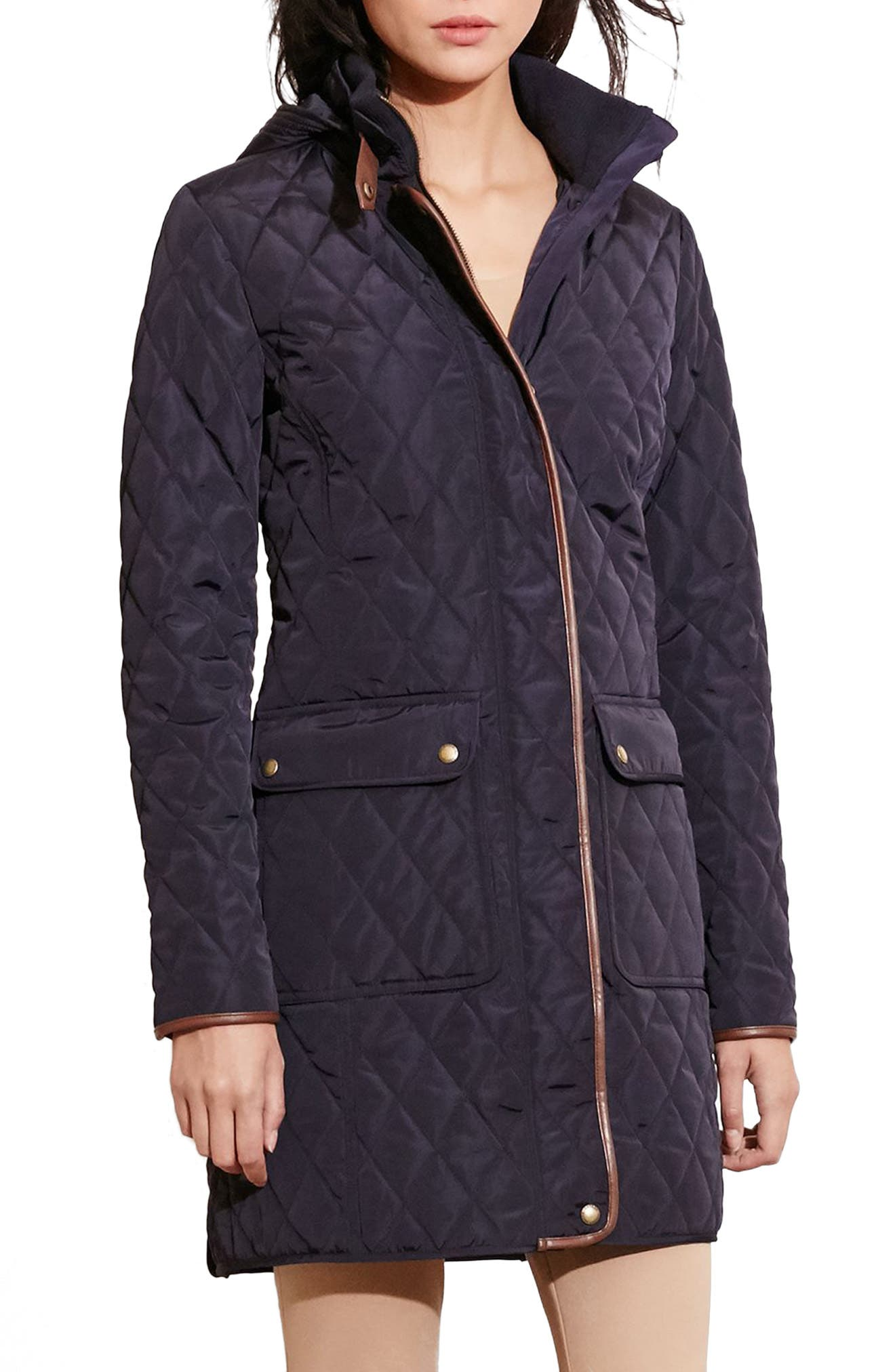 Diamond Quilted Coat with Faux Leather Trim,                             Alternate thumbnail 4, color,                             Dark Navy