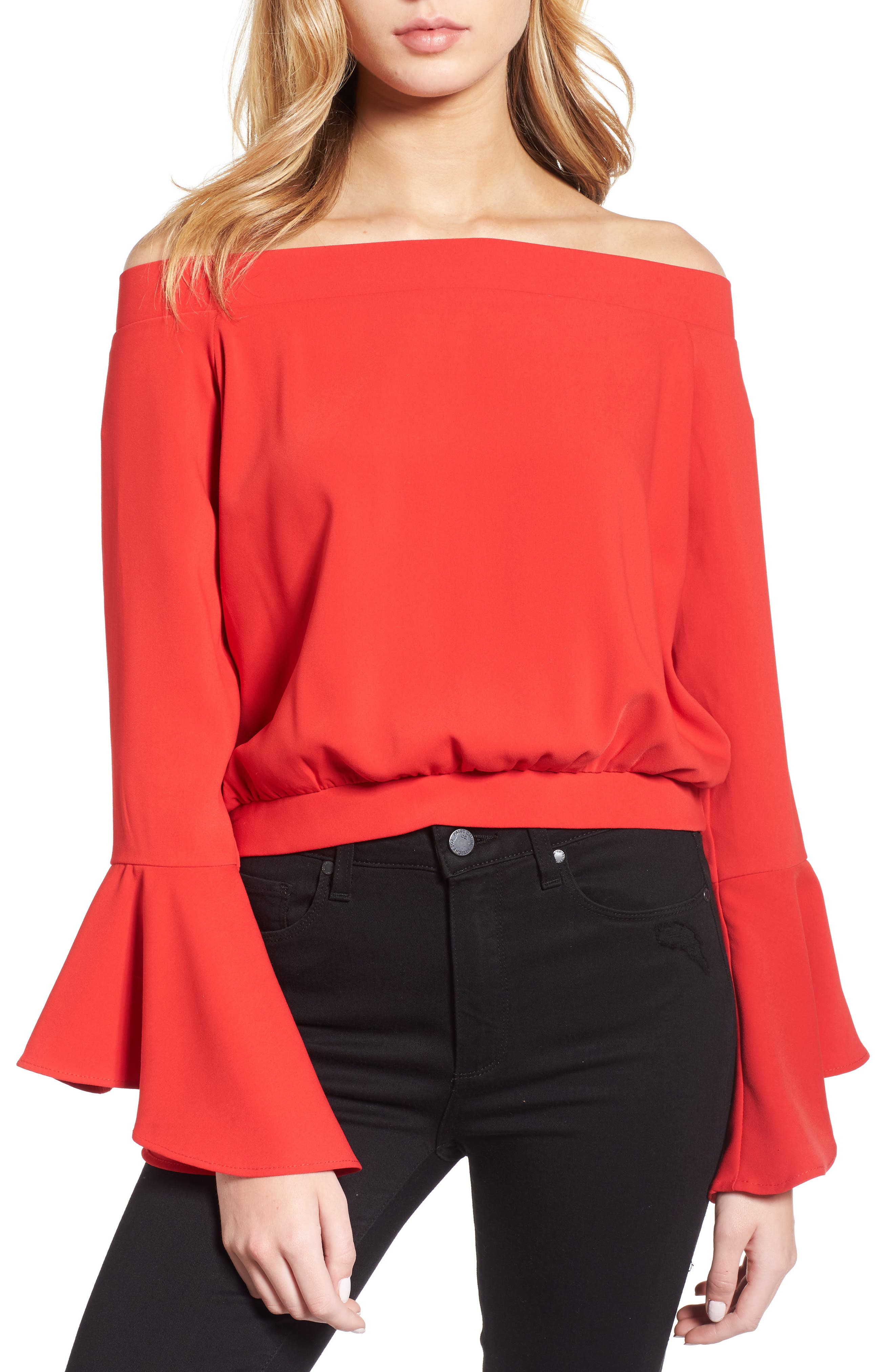 Elson Off the Shoulder Top,                             Main thumbnail 1, color,                             Formula One Red