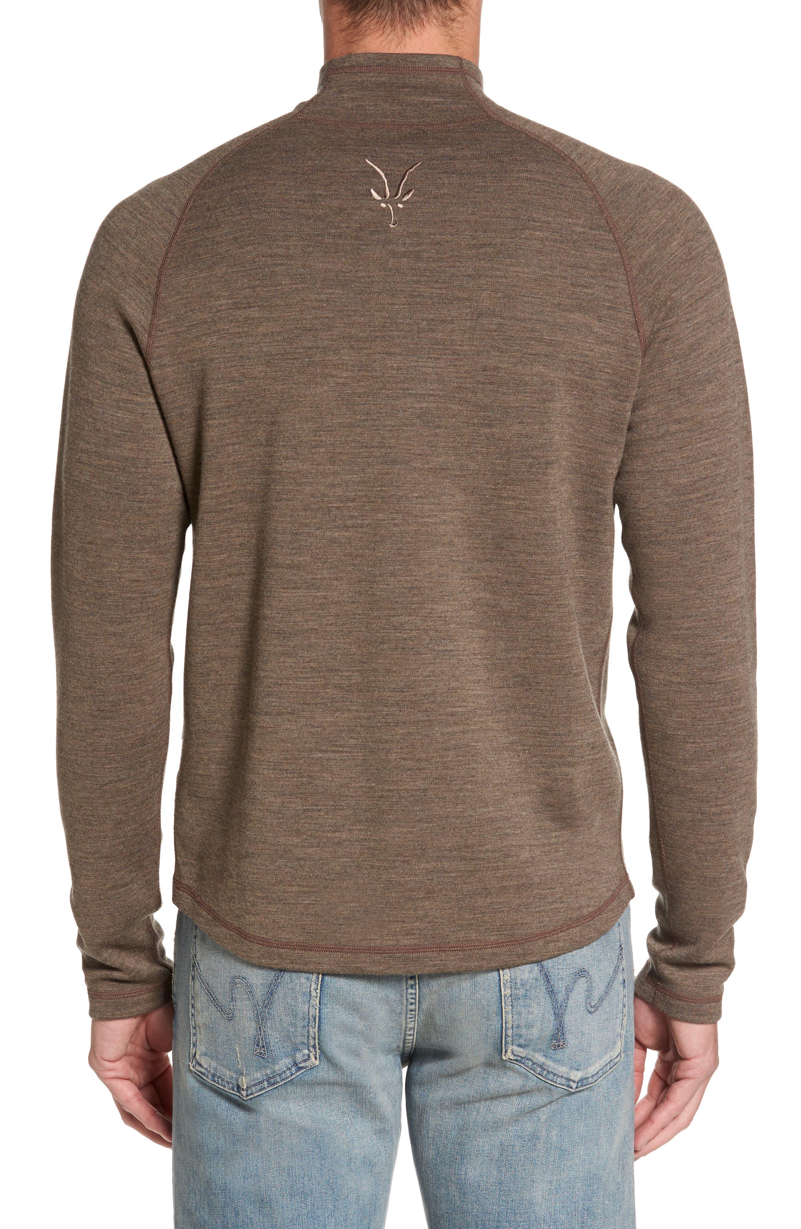'Shak' Merino Wool Quarter Zip Top,                             Alternate thumbnail 2, color,                             Dark Rye Heather