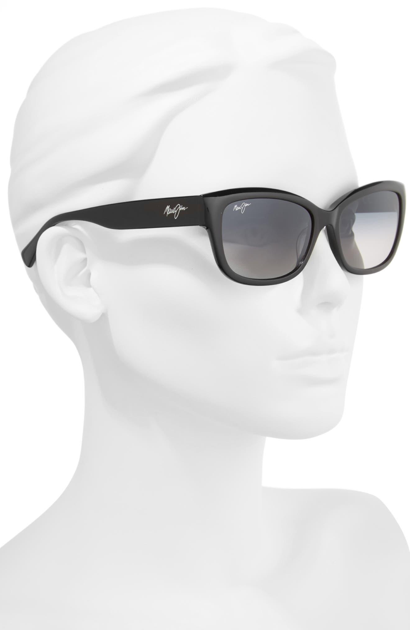 Plumeria 55mm Polarized Cat Eye Sunglasses,                             Alternate thumbnail 2, color,                             Gloss Black/ Neutral Grey