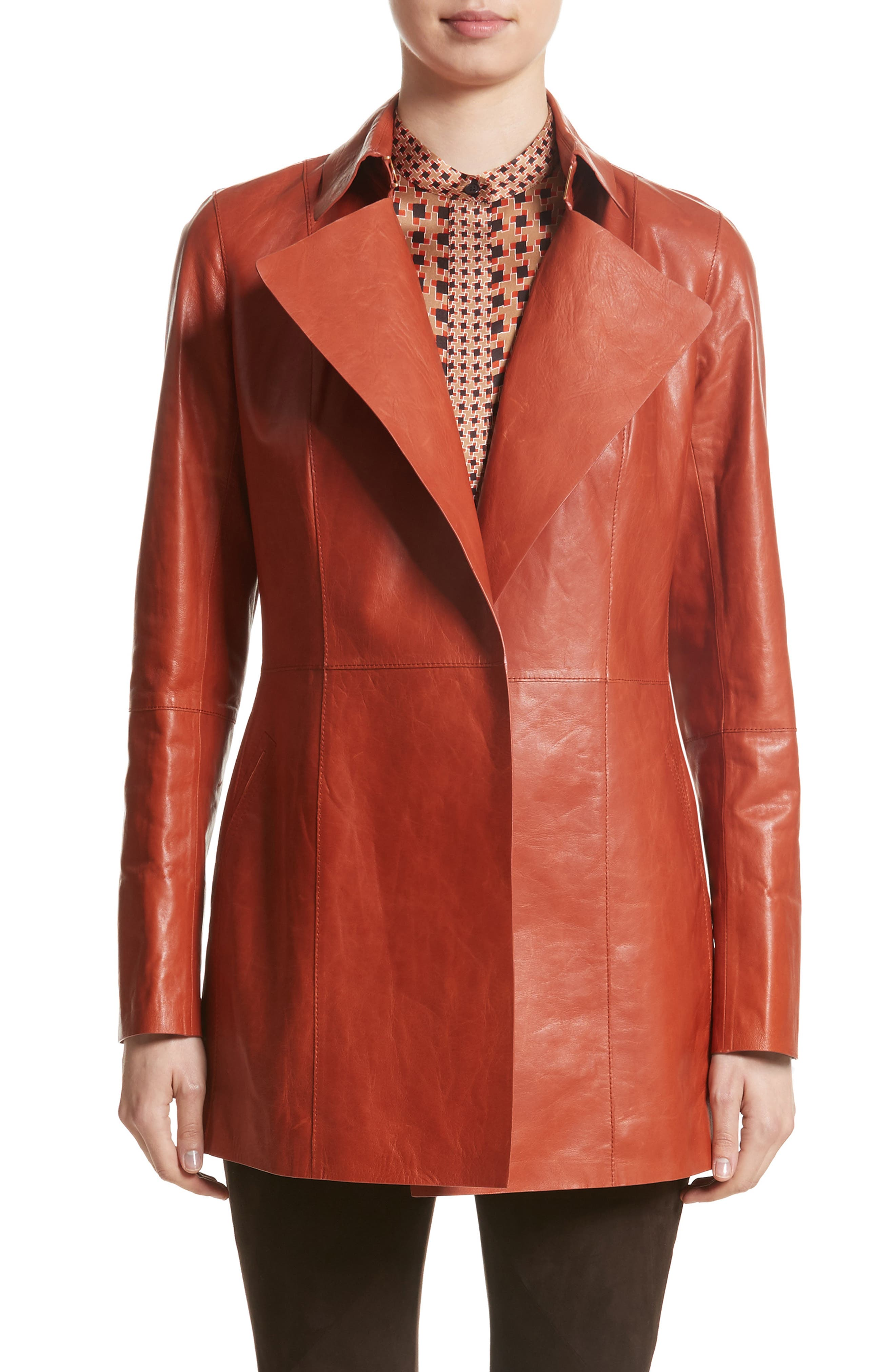 Leather Trench,                             Main thumbnail 1, color,                             Harvest