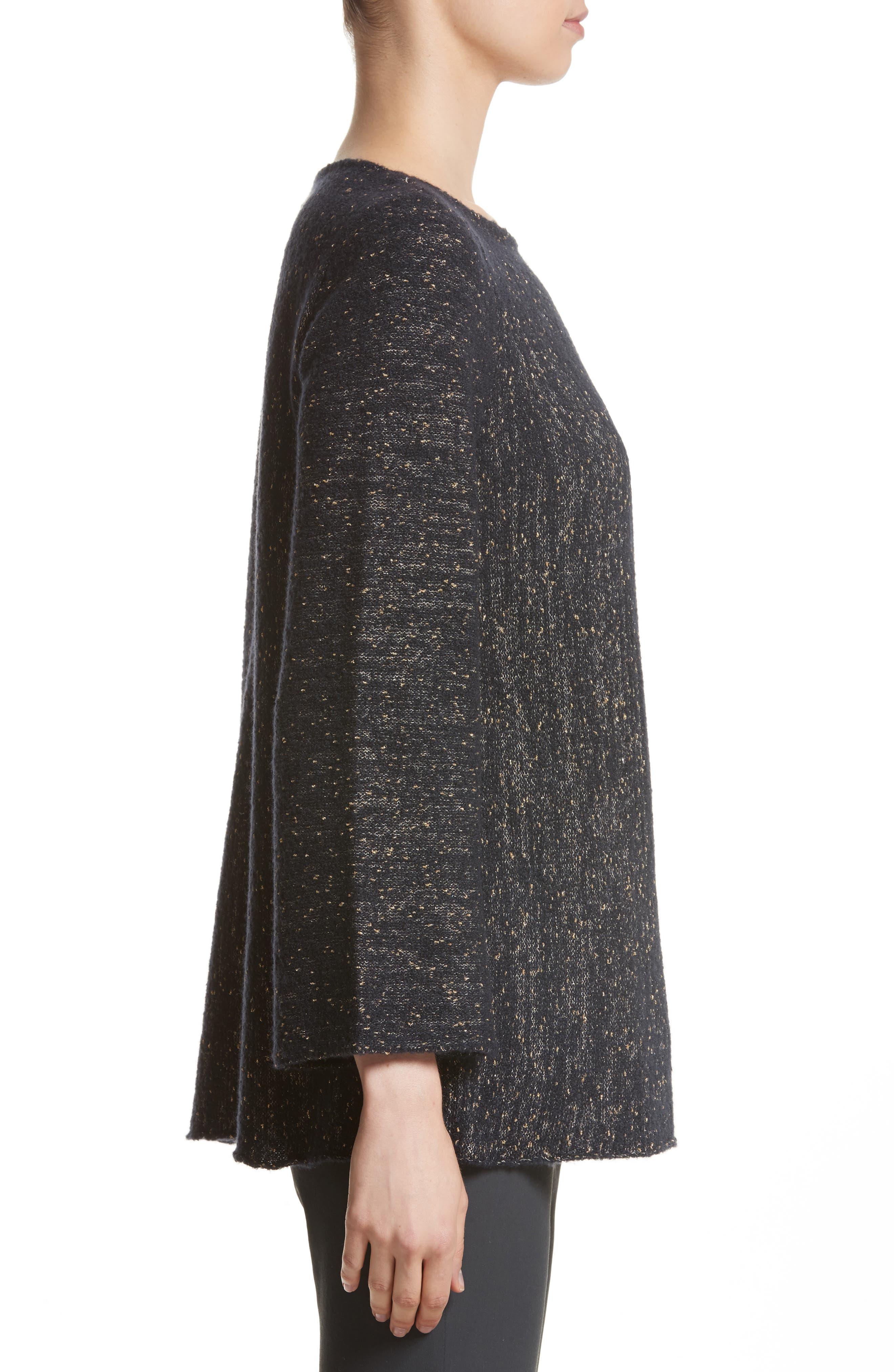 Lafayette Metallic Knit A-Line Sweater,                             Alternate thumbnail 3, color,                             Ink Metallic