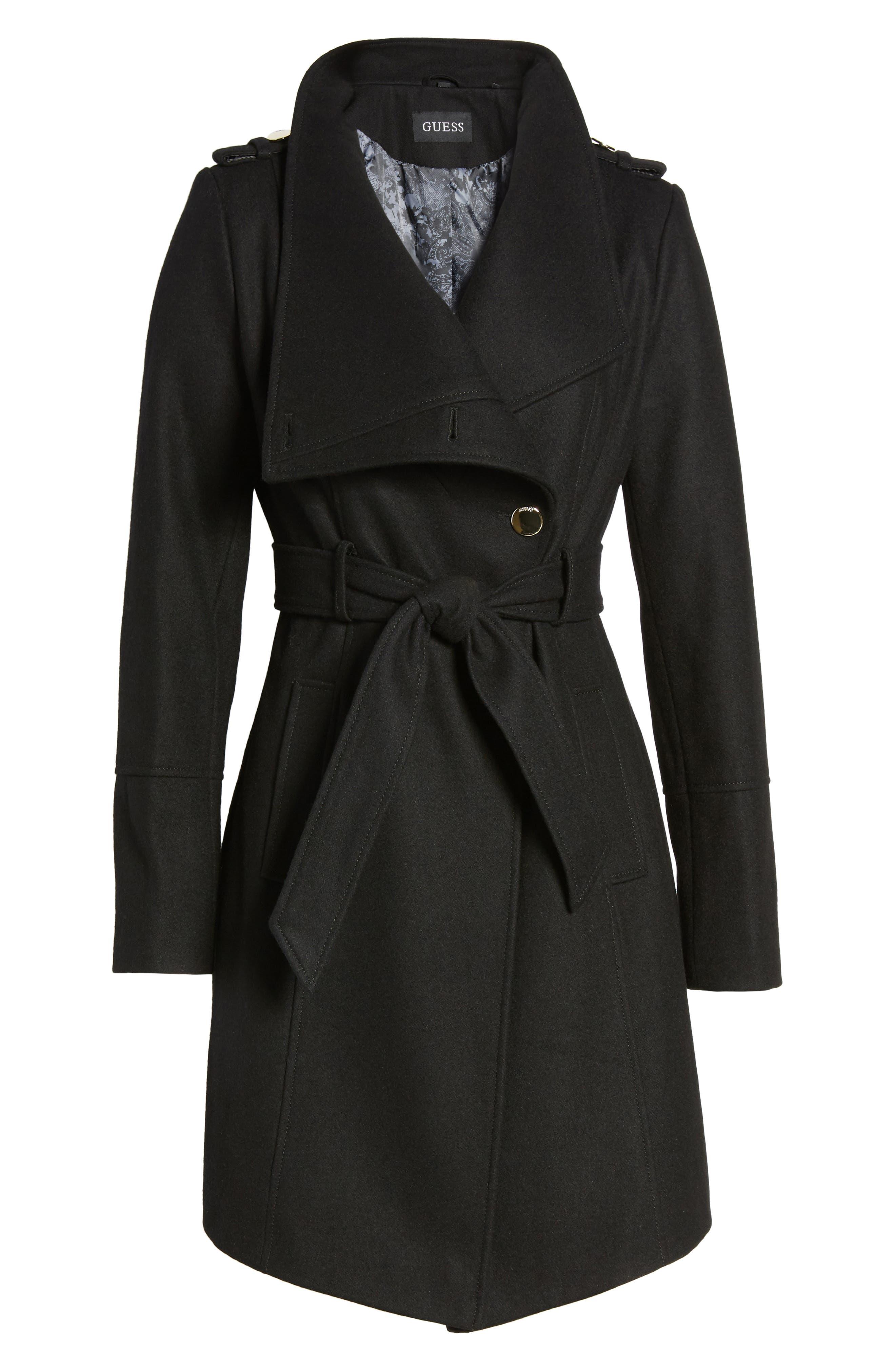 Wrap Trench Coat,                             Alternate thumbnail 6, color,                             Black