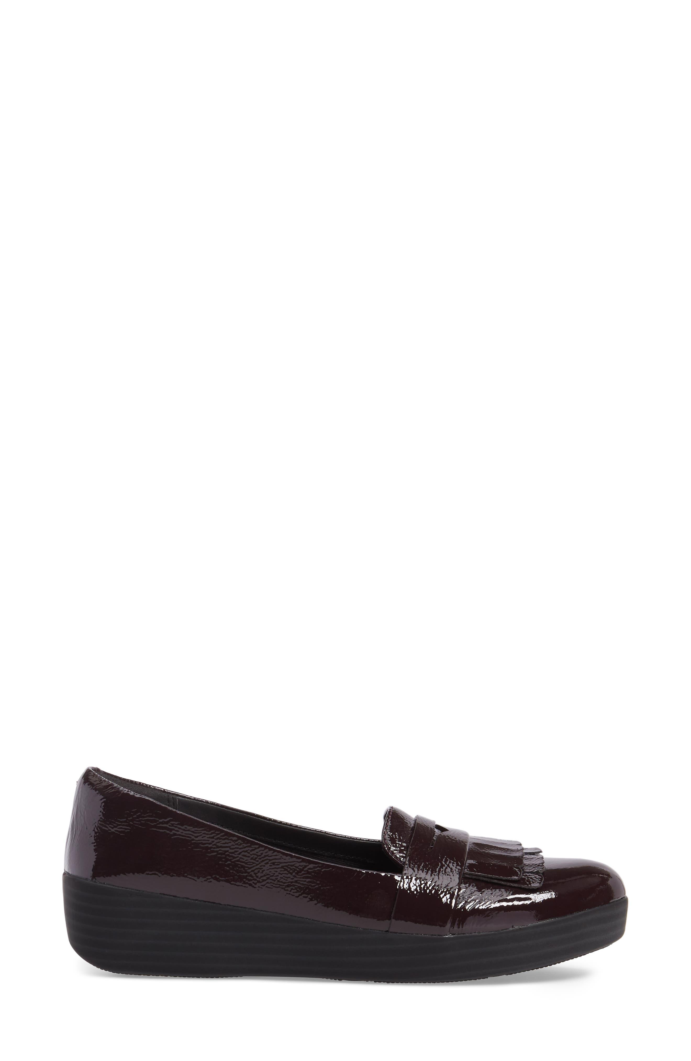 Fringey Sneakerloafer Slip-On,                             Alternate thumbnail 3, color,                             Deep Plum Leather