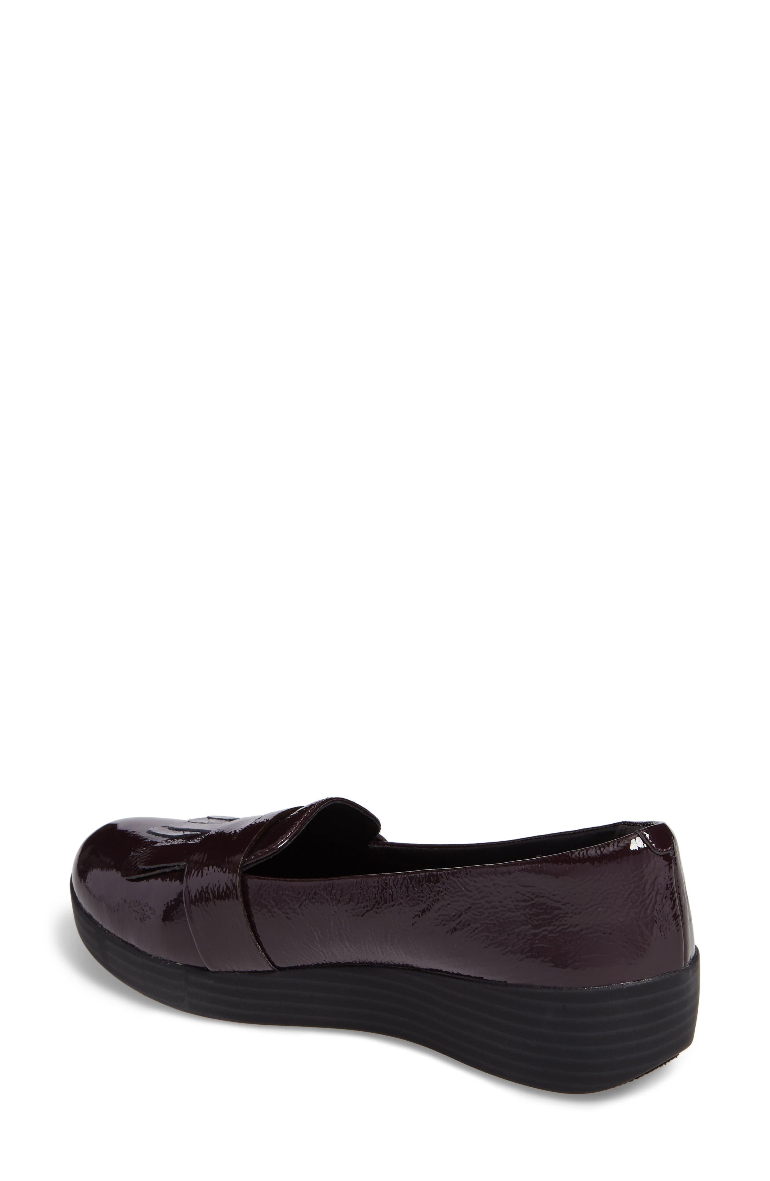 Fringey Sneakerloafer Slip-On,                             Alternate thumbnail 2, color,                             Deep Plum Leather