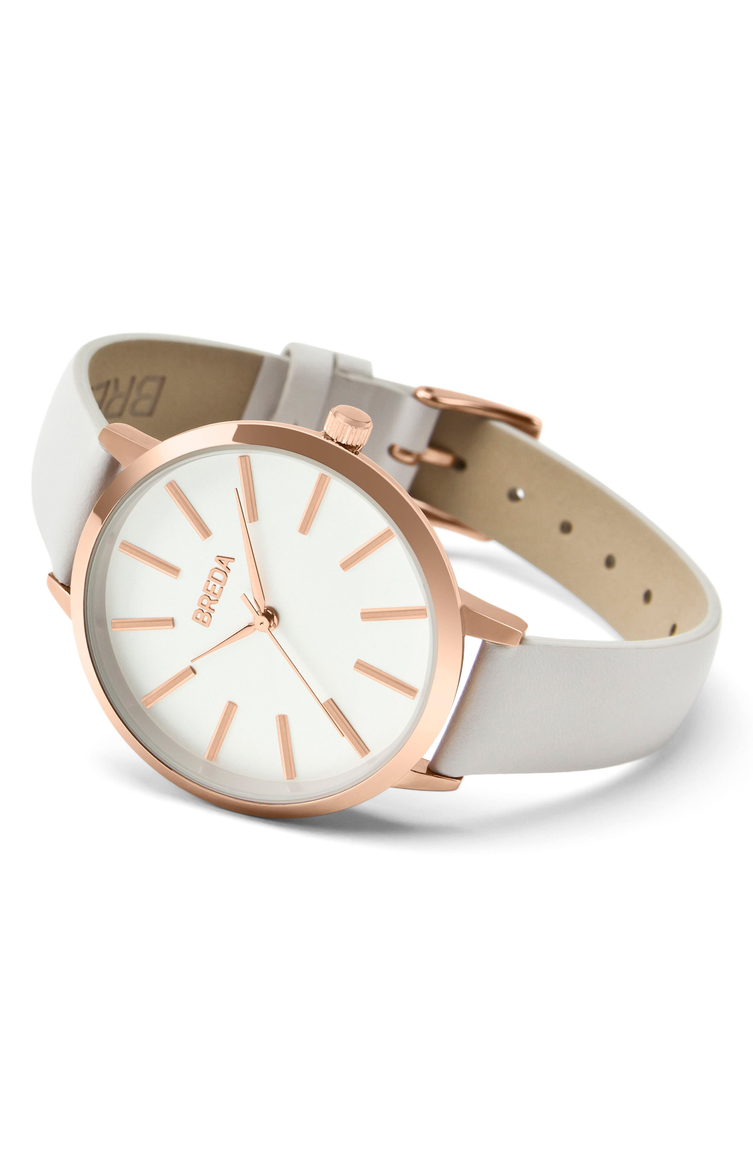Joule Round Leather Strap Watch, 37mm,                             Alternate thumbnail 2, color,                             Blush/ White/ Rose Gold